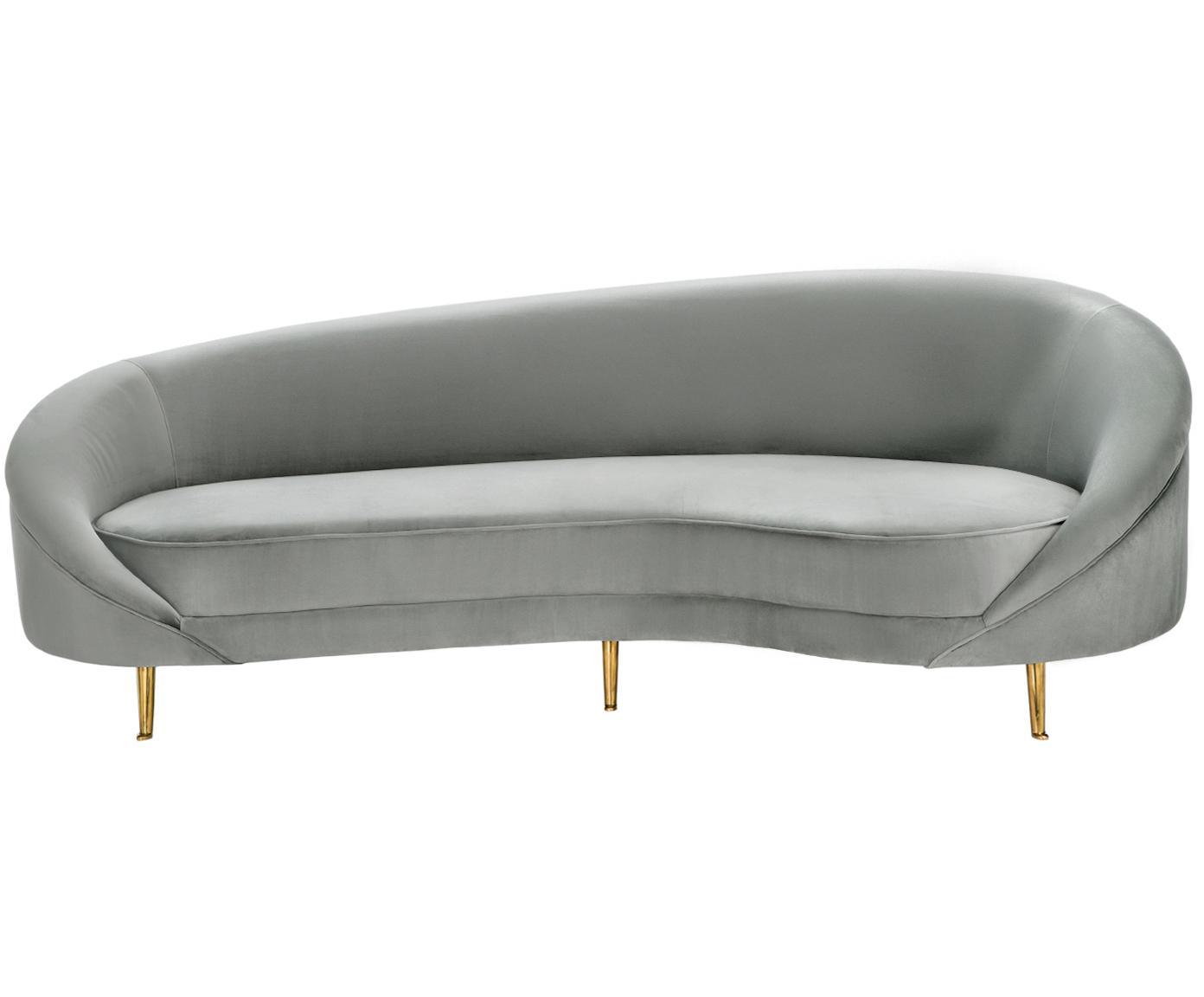 Fluwelen bank Gatsby (3-zits), Bekleding: fluweel (polyester), Frame: massief eucalyptushout, Poten: gegalvaniseerd metaal, Bekleding: grijs. Poten: glanzend goudkleurig, B 245 x D 102 cm