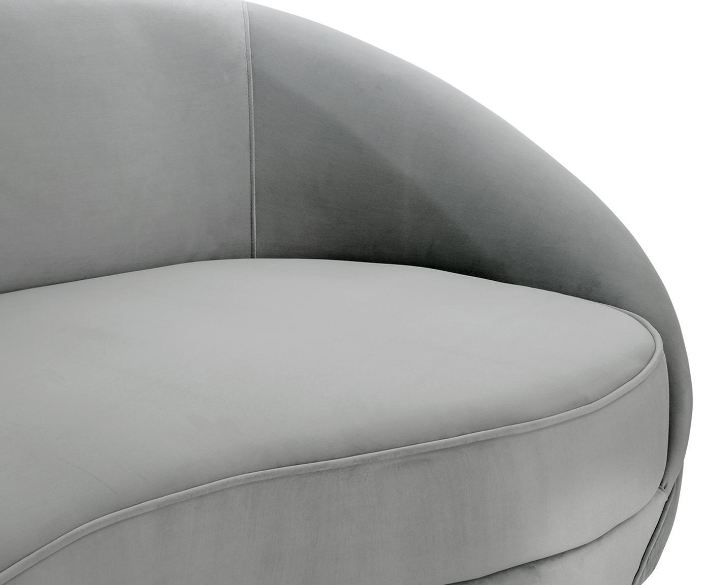 Sofa z aksamitu w kształcie nerki Gatsby (3-osobowa), Tapicerka: aksamit (poliester) 2500, Stelaż: lite drewno eukaliptusowe, Tapicerka: pianka na zawieszeniu spr, Nogi: metal galwanizowany, Tapicerka: szary Nogi: odcienie złotego, błyszczący, S 245 x G 102 cm