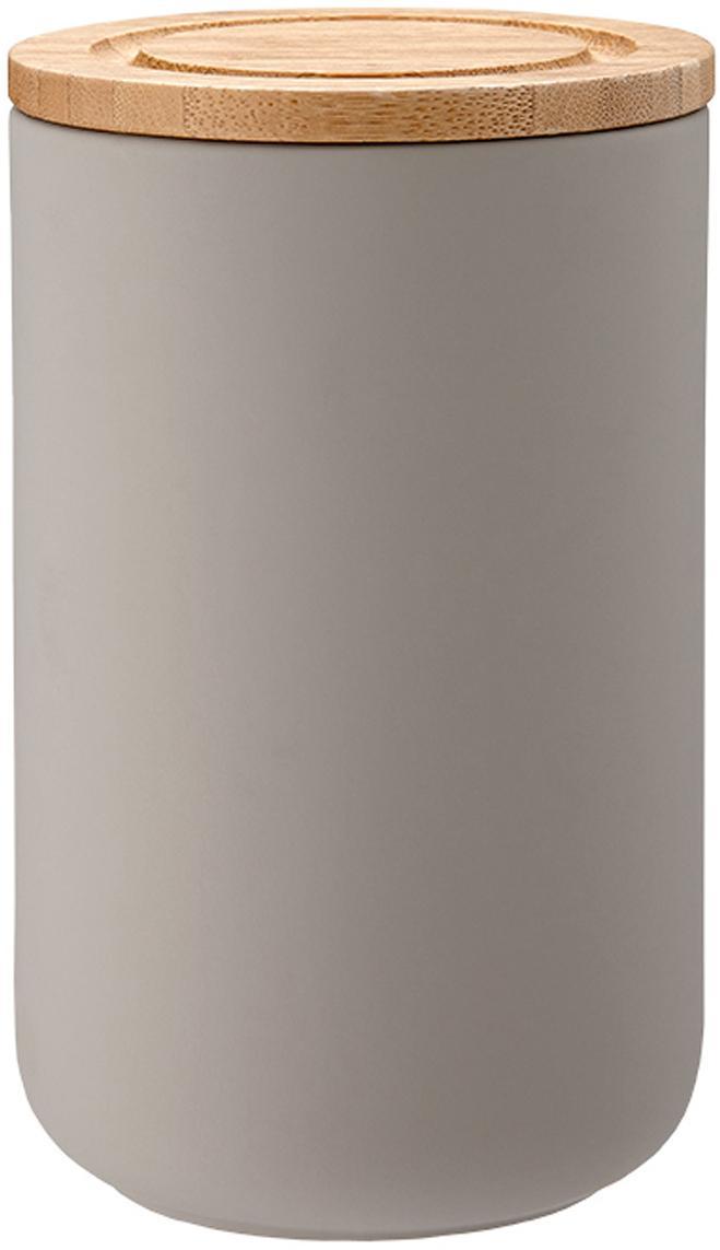 Opbergpot Stak, Pot: keramiek, Deksel: bamboehout, Steengrijs, bamboehoutkleurig, Ø 10 x H 17 cm