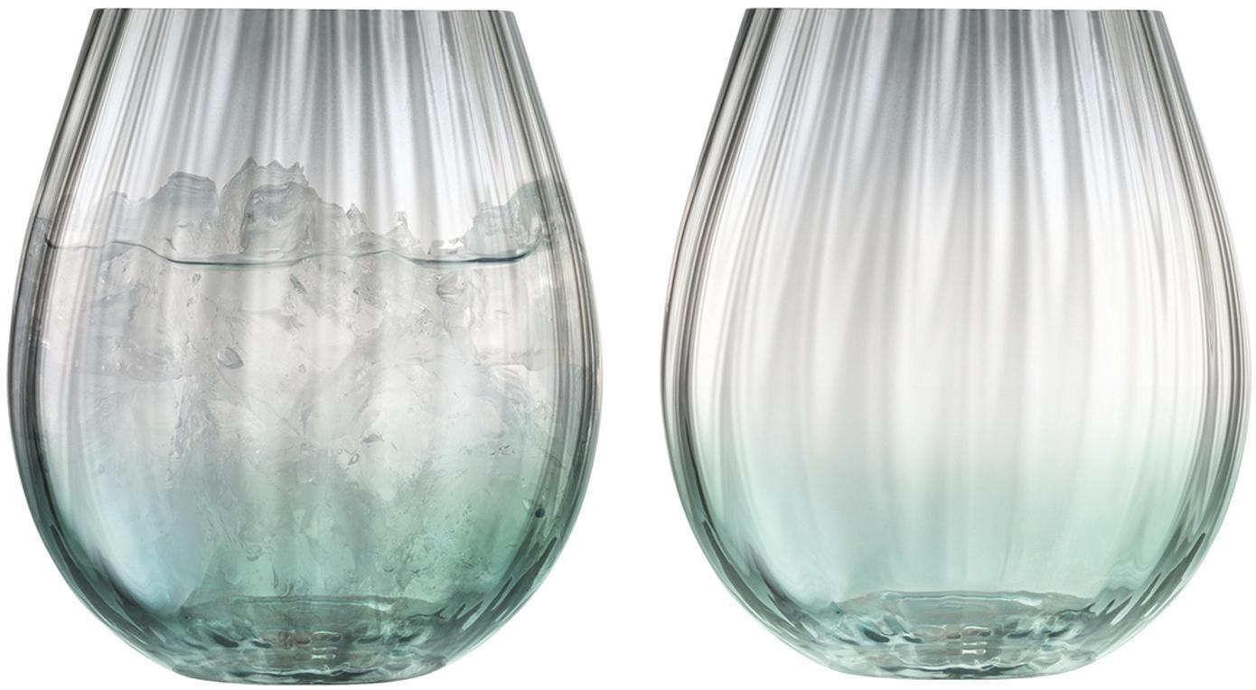 Handgemaakte waterglazen Dusk met kleurverloop, 2-delig, Glas, Groen, grijs, Ø 9 x H 10 cm