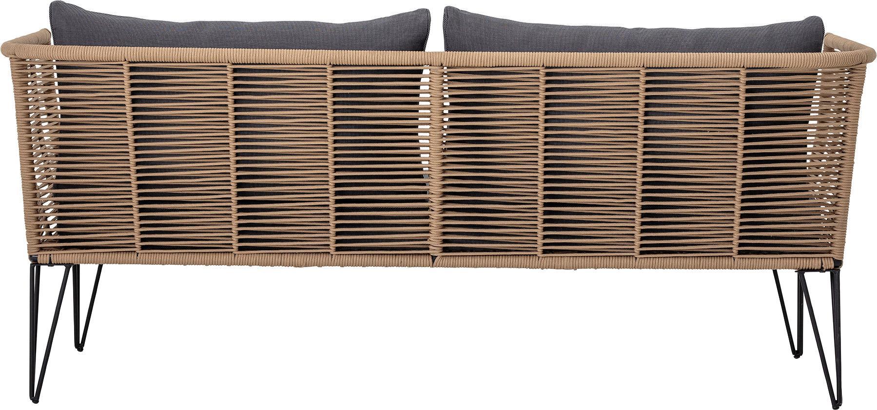 Garten-Loungesofa Mundo mit Kunststoff-Geflecht (2-Sitzer), Gestell: Metall, pulverbeschichtet, Sitzfläche: Polyethylen, Bezug: Polyester, Braun, B 175 x T 74 cm