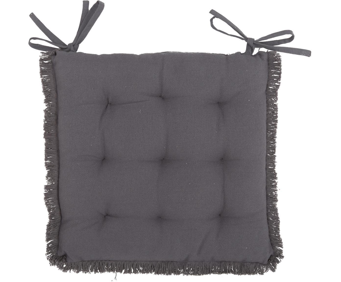 Poduszka na siedzisko z frędzlami Prague, Antracytowy, S 40 x D 40 cm