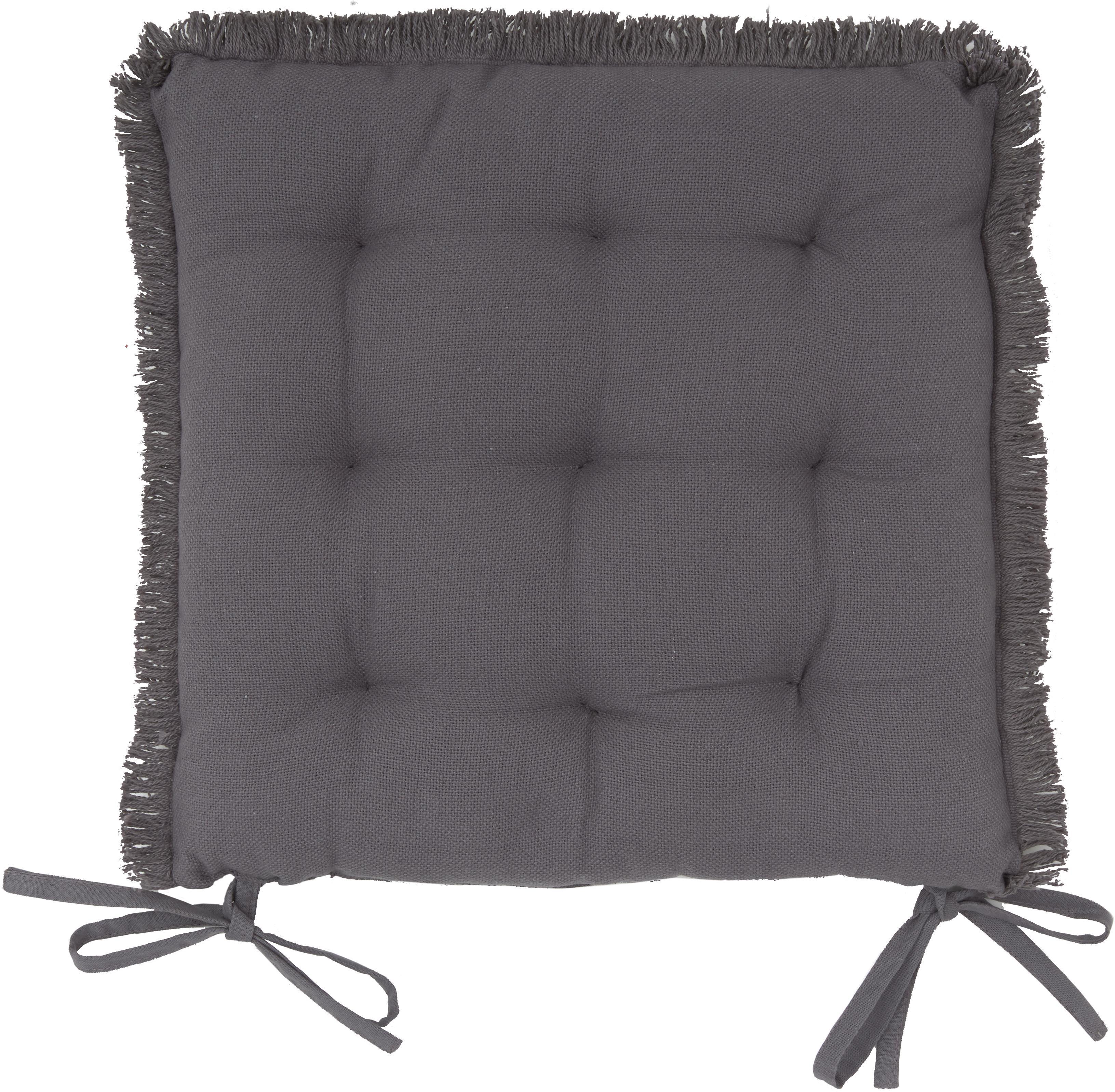 Cuscino sedia con finitura a frange  Prague, Antracite, Larg. 40 x Lung. 40 cm