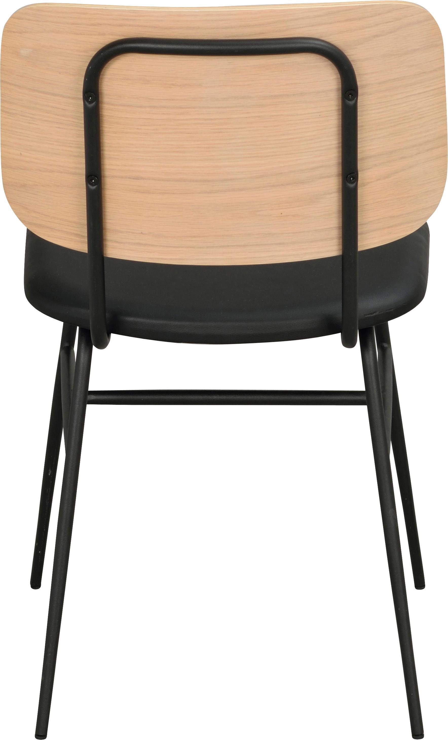 Hoge stoel Brent, Zitvlak: kunstleer (polyurethaan), Frame: gelakt metaal, Eikenhoutkleurig, B 47 x D 57 cm