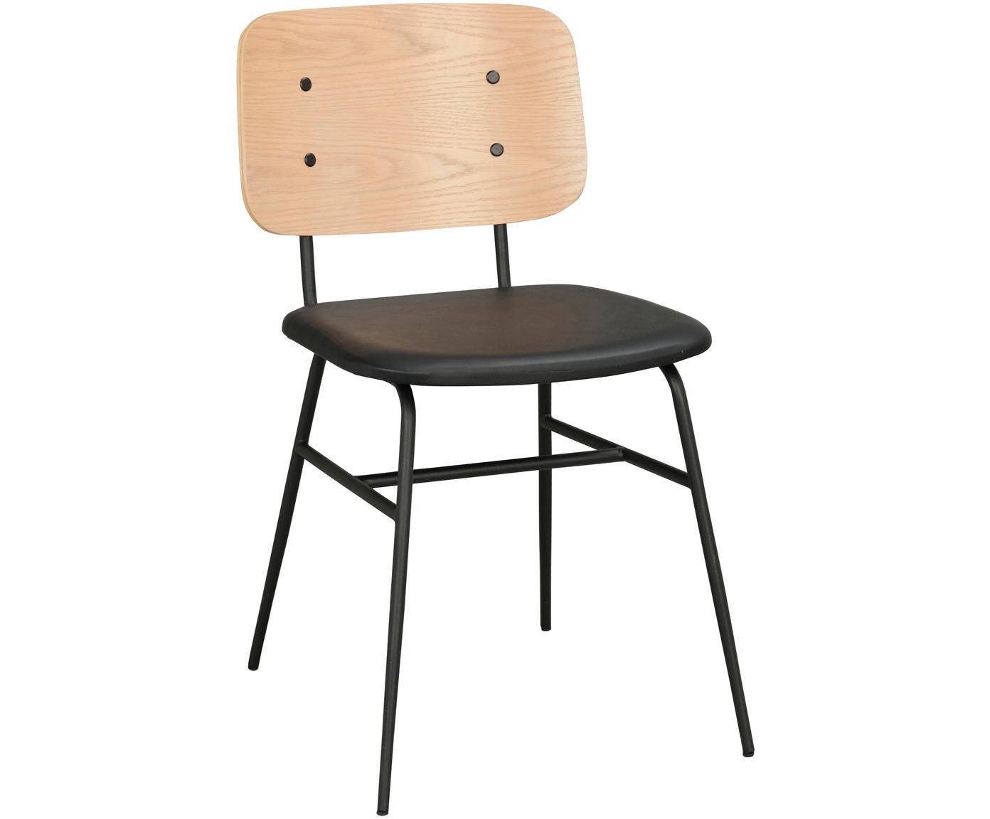 Hoge stoel Brent, Zitvlak: kunstleer (polyurethaan), Frame: gelakt metaal, Eikenhoutkleurig, zwart, mat, B 47 x D 57 cm