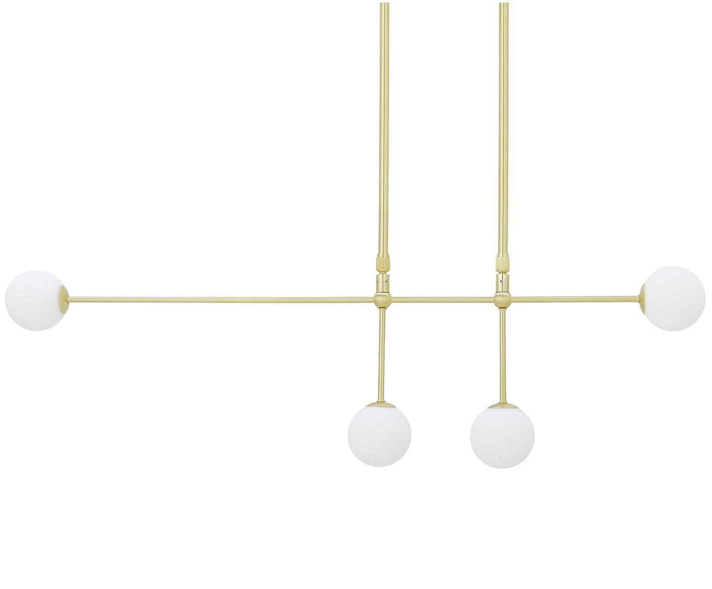 Lampa wisząca Moon, Osłona mocowania sufitowego i oprawa: mosiądz, szczotkowany Klosz: biały Kabel:, S 112 x G 10 cm