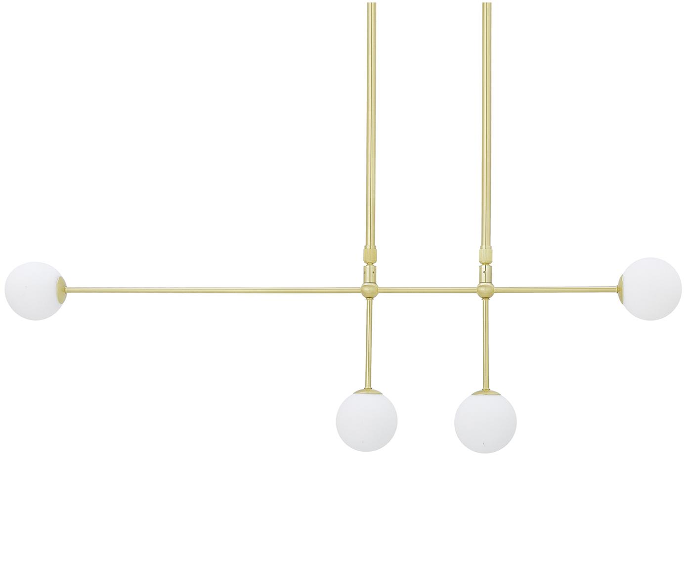 Lámpara de techo Moon, Cable: plástico, Latón cepillado, blanco, An 112 x F 10 cm