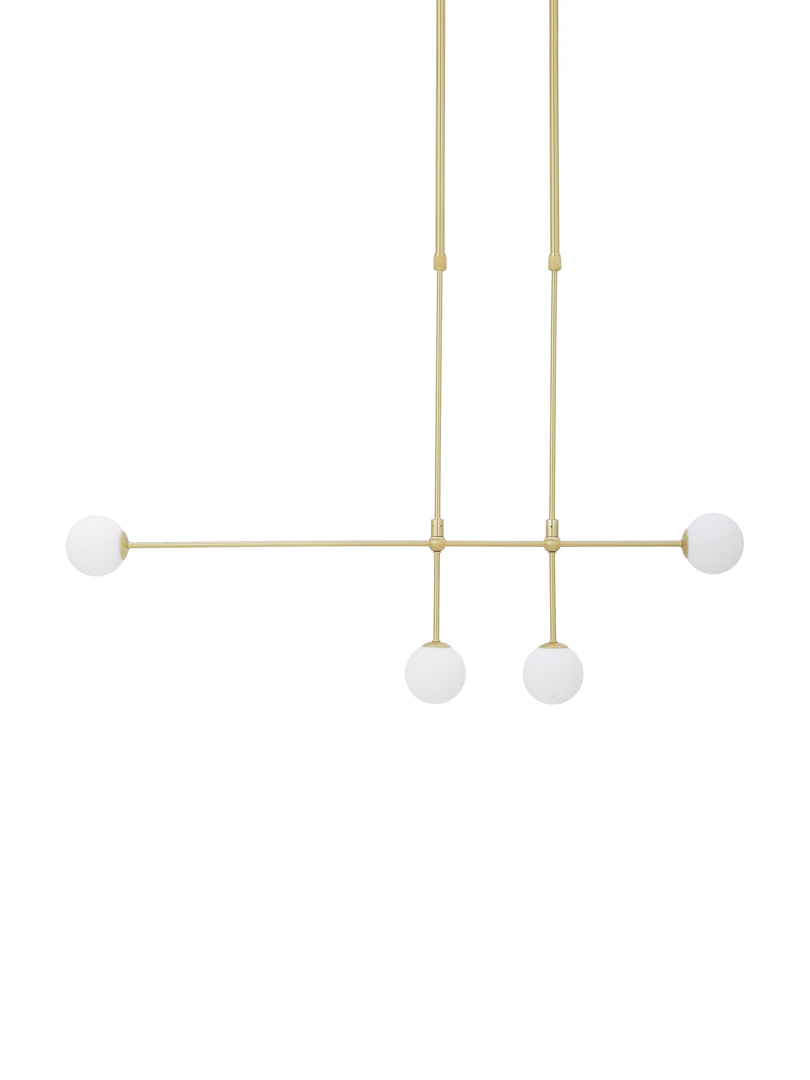 Hanglamp Moon, Baldakijn en fitting: geborsteld messingkleurig. Lampenkappen: wit. Snoer: zwart, B 112 x D 10 cm