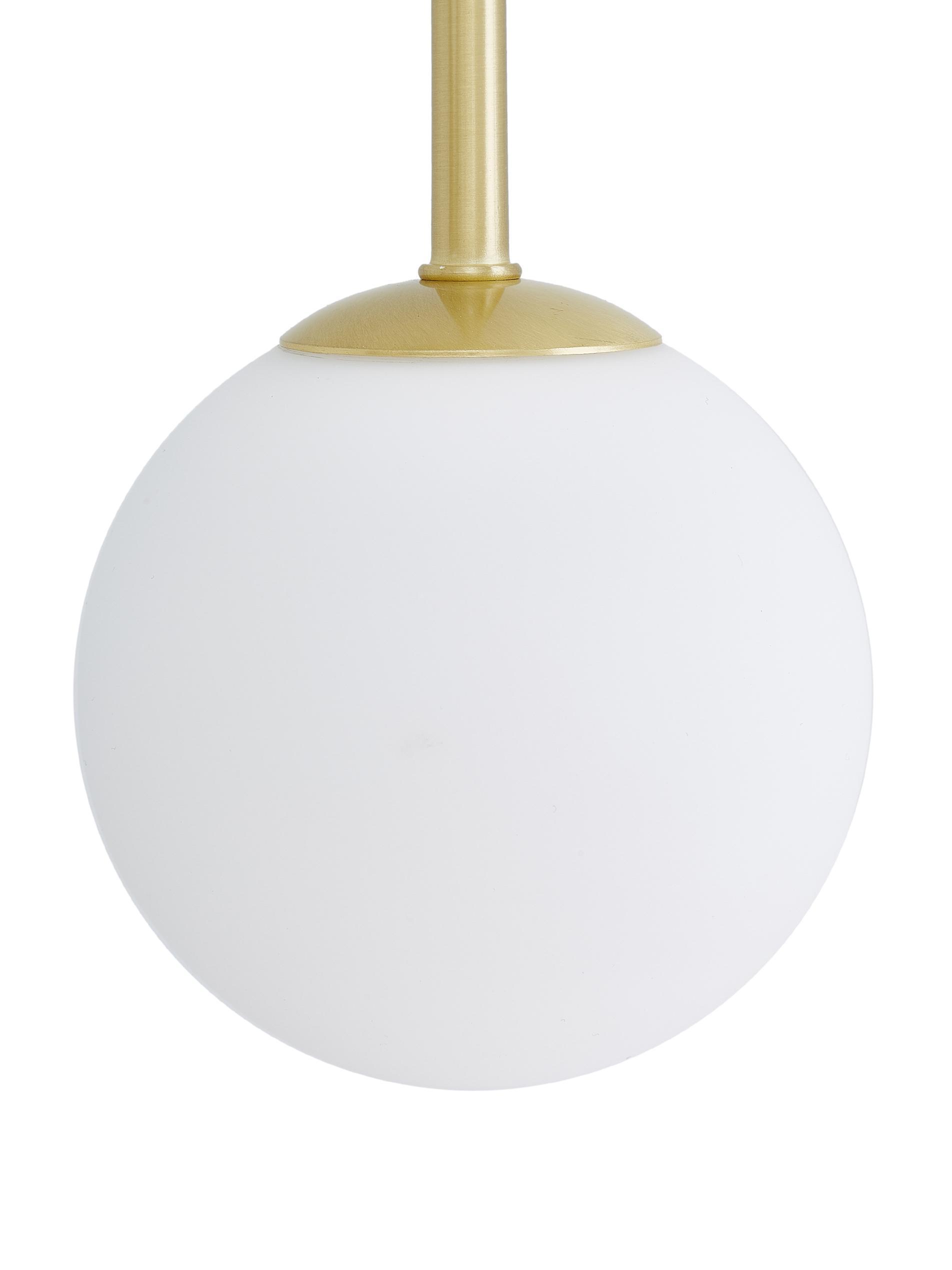 Lampada a sospensione Moon, Paralume: vetro, Baldacchino e rilegatura: ottone spazzolato paralume: bianco cavo: nero, Larg. 112 x Prof. 10 cm