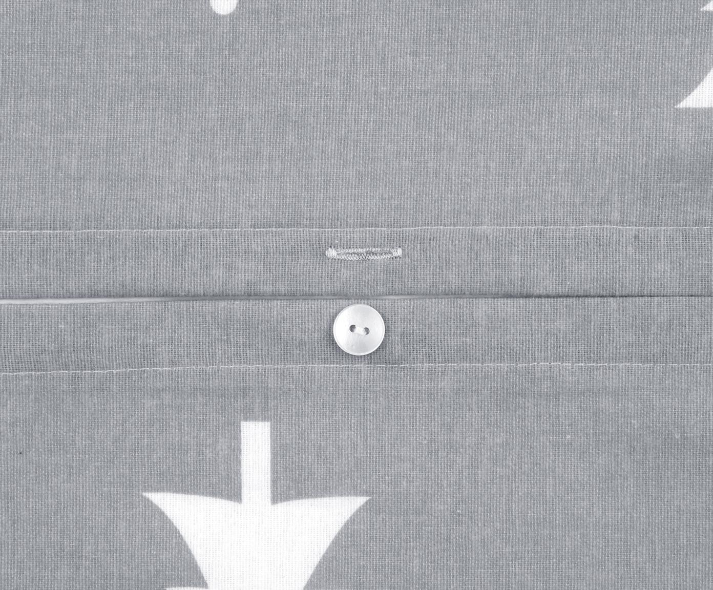 Pościel z flaneli Nordic, Ciemny szary, kremowobiały, 240 x 220 cm