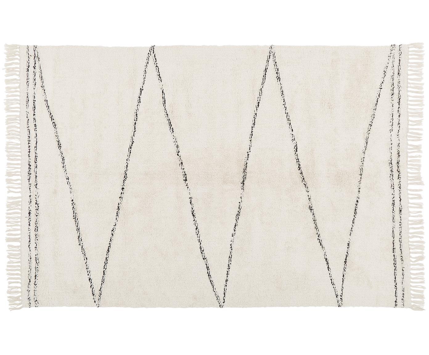Tappeto Asisa in cotone taftato a mano con motivo a zigzag, Beige, nero, Larg. 160 x Lung. 230 cm (taglia M)
