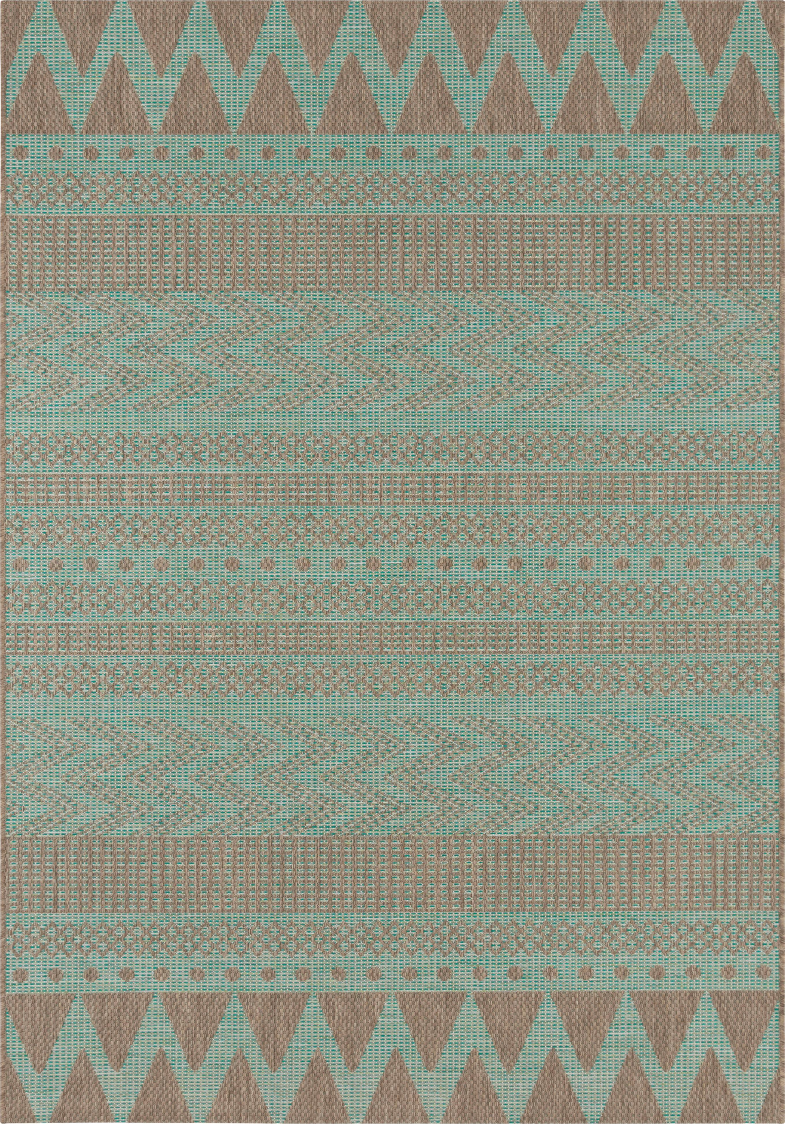 In- & outdoor vloerkleed Sidon met grafisch patroon, 100% polypropyleen, Groen, taupe, B 140 x L 200 cm (maat S)
