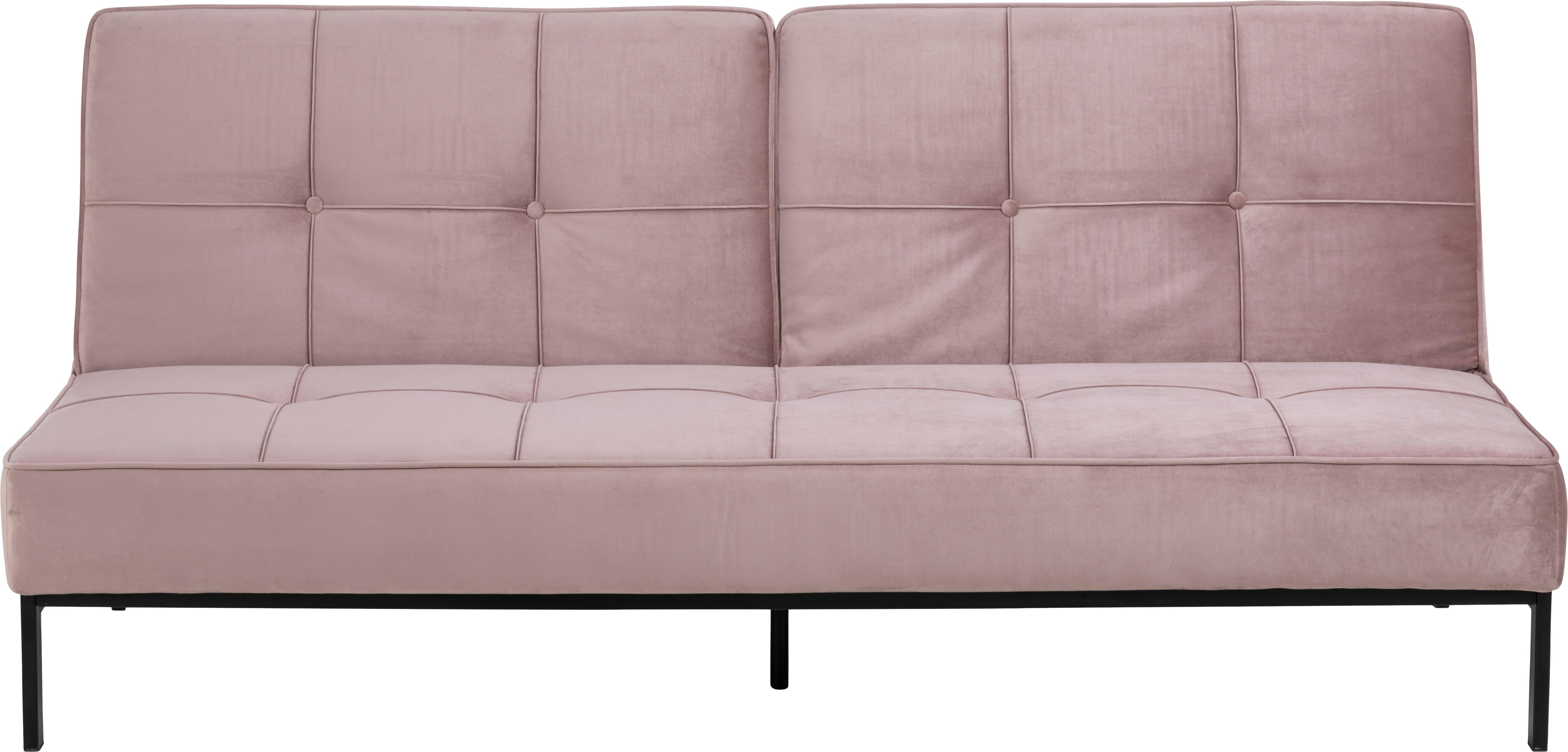 Sofa rozkładana z aksamitu Perugia (2-osobowa), Tapicerka: aksamit poliestrowy 2500, Nogi: metal lakierowany, Aksamitny blady różowy, S 198 x G 95 cm