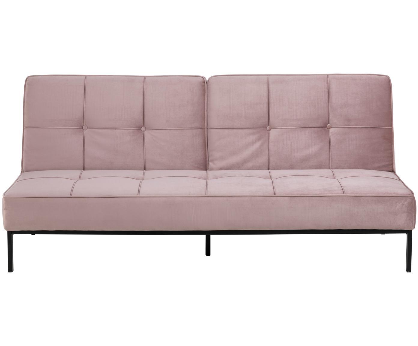 Samt-Schlafsofa Perugia, Bezug: Polyestersamt 25.000 Sche, Beine: Metall, lackiert, Samt Rosa, B 198 x T 95 cm