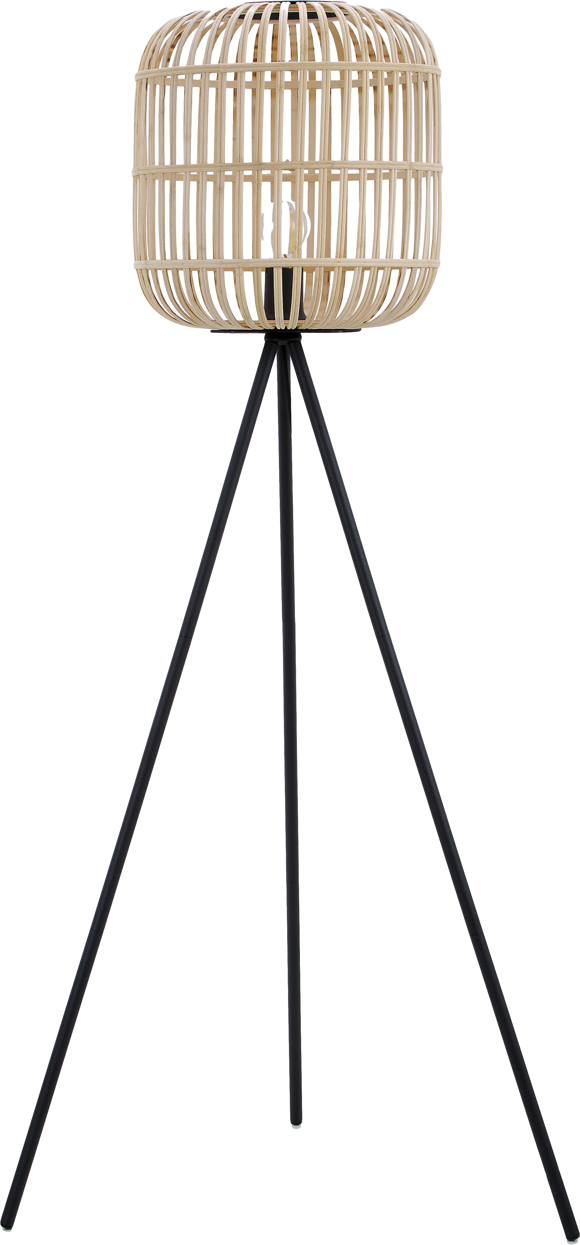 Tripod Stehlampe Bordesley im Boho-Style, Lampenschirm: Holz, Schwarz, Holz, Ø 35 x H 139 cm