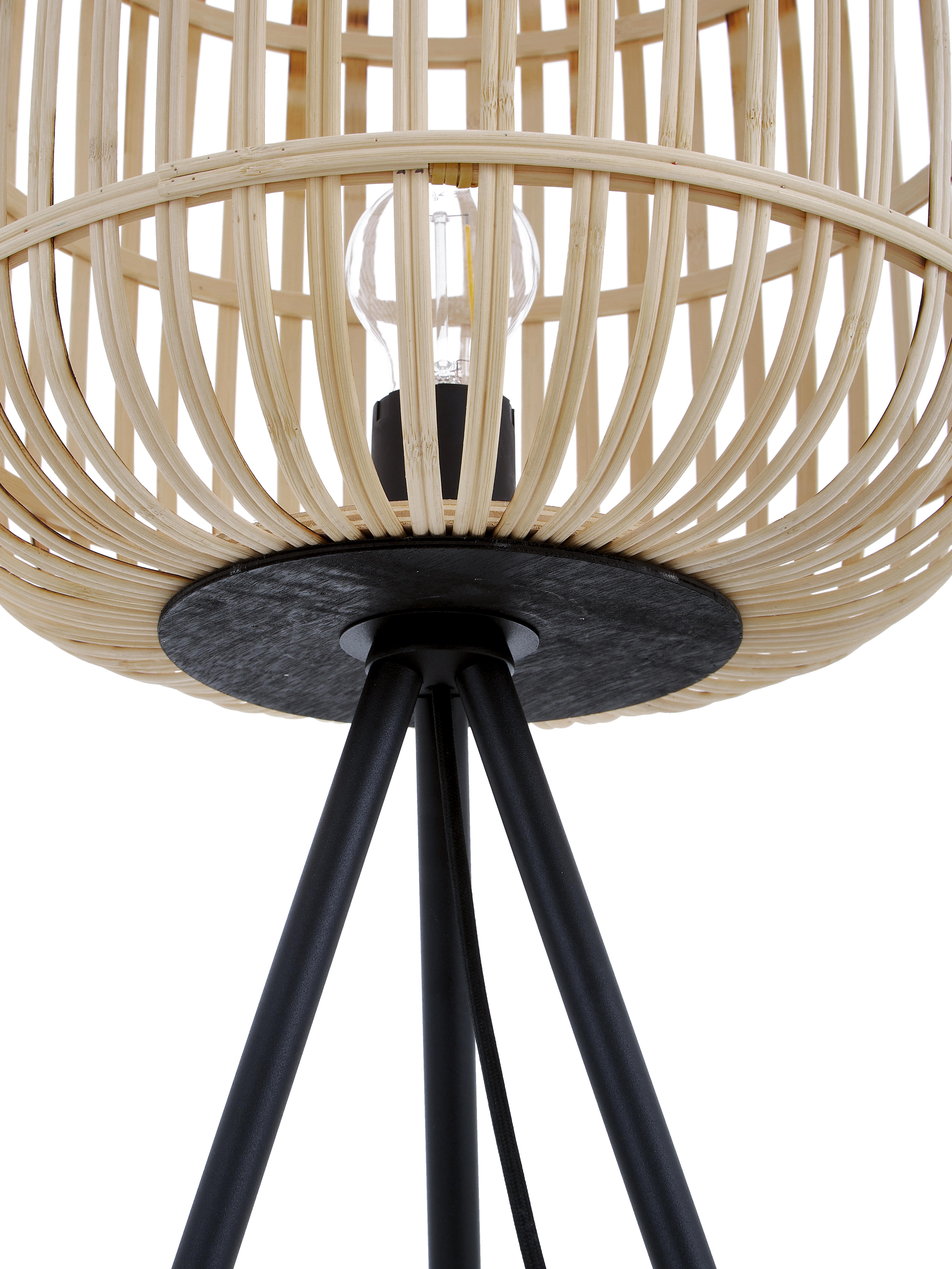 Lampadaire avec abat-jour en bois Bordesley, Noir, bois