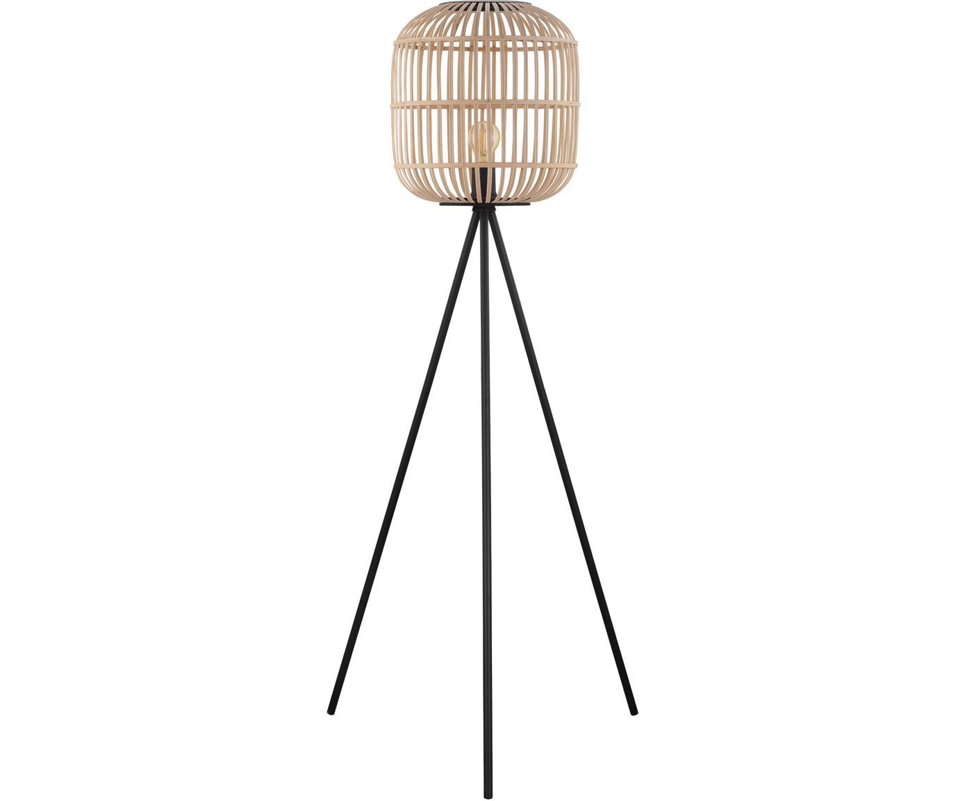 Lámpara de pie Bordesley, Acero, madera, Negro, bayo, Ø 35 cm