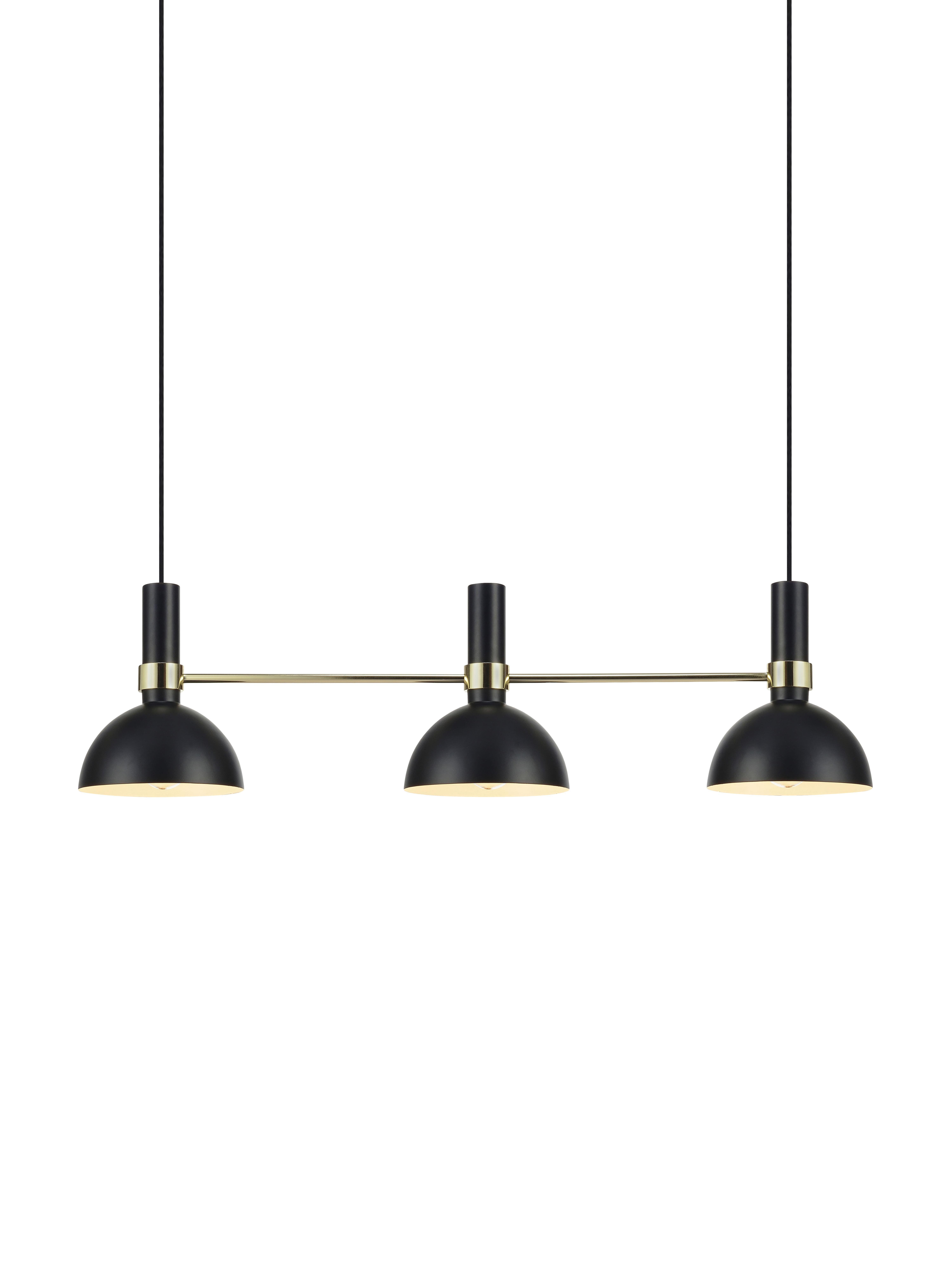 Lámpara de techo de diseño Larry, Fijación: latón, Cable: cubierto en tela, Negro, latón, An 100 x Al 24 cm
