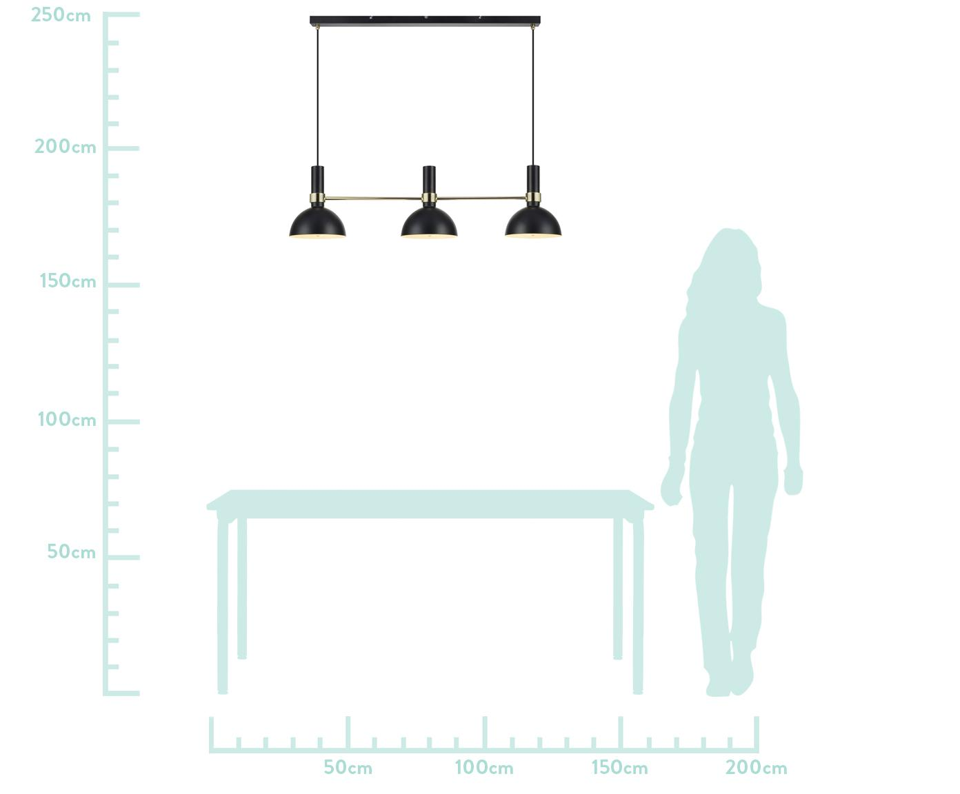 Große Design-Pendelleuchte Larry, Schwarz,Messing, 100 x 24 cm