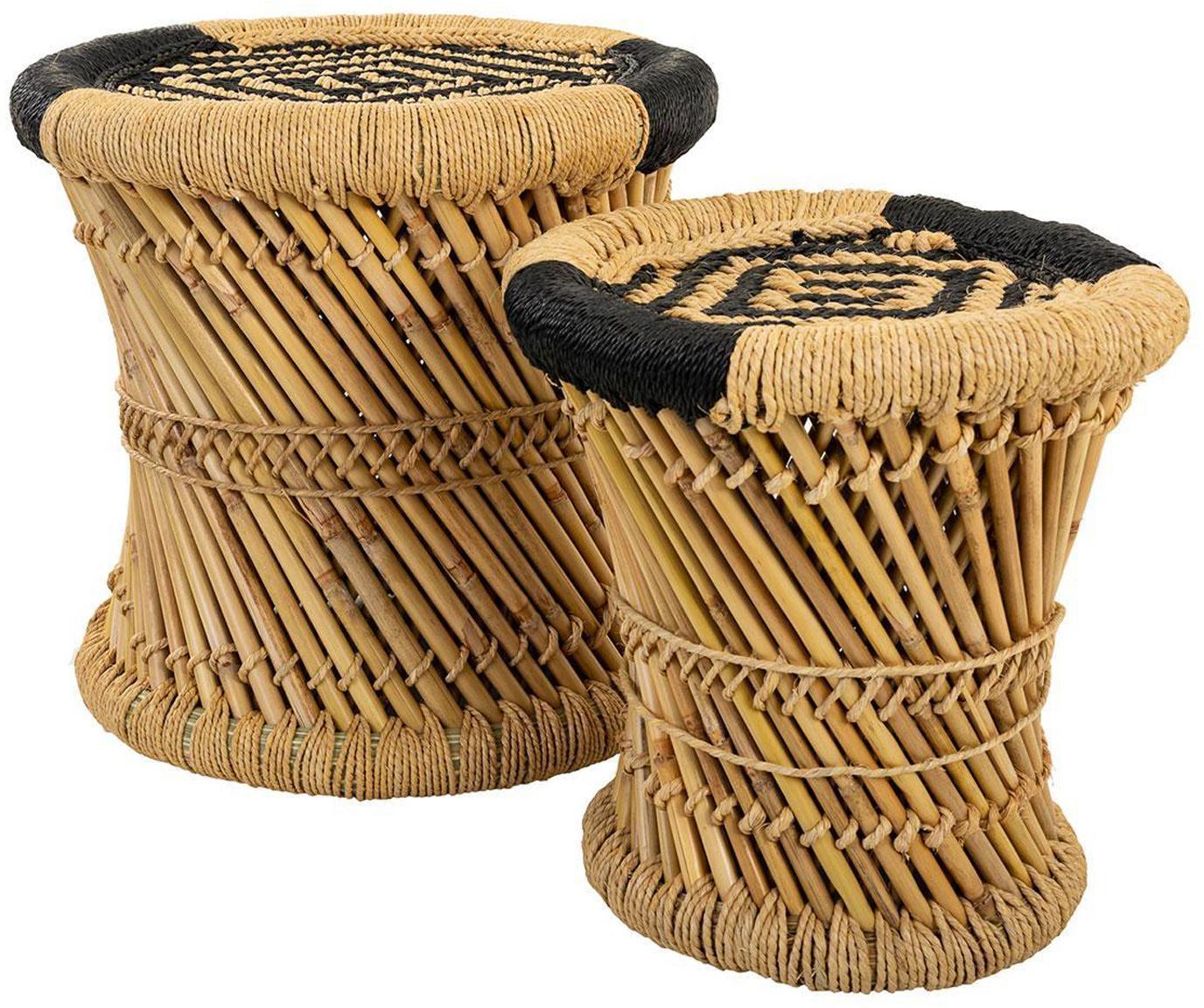 Set de taburetes de exterior Ariadna, 2pzas., Cuerda, bambú, Beige, negro, Set de diferentes tamaños