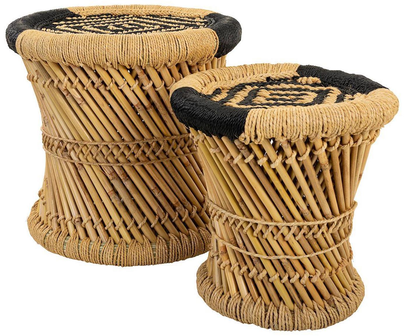 Set de taburetes de exterior Ariadna, 2pzas., Cuerda, bambú, Beige, negro, Tamaños diferentes