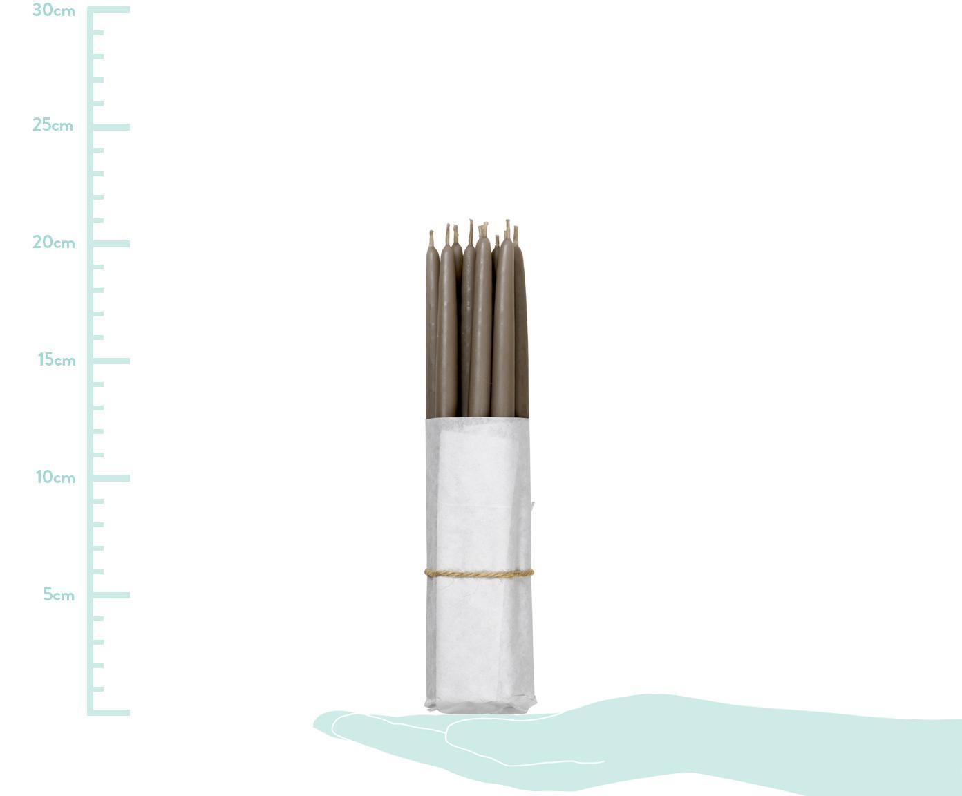 Stabkerzen Loka, 10 Stück, Paraffinwachs, Taupe, Ø 1 x H 21 cm