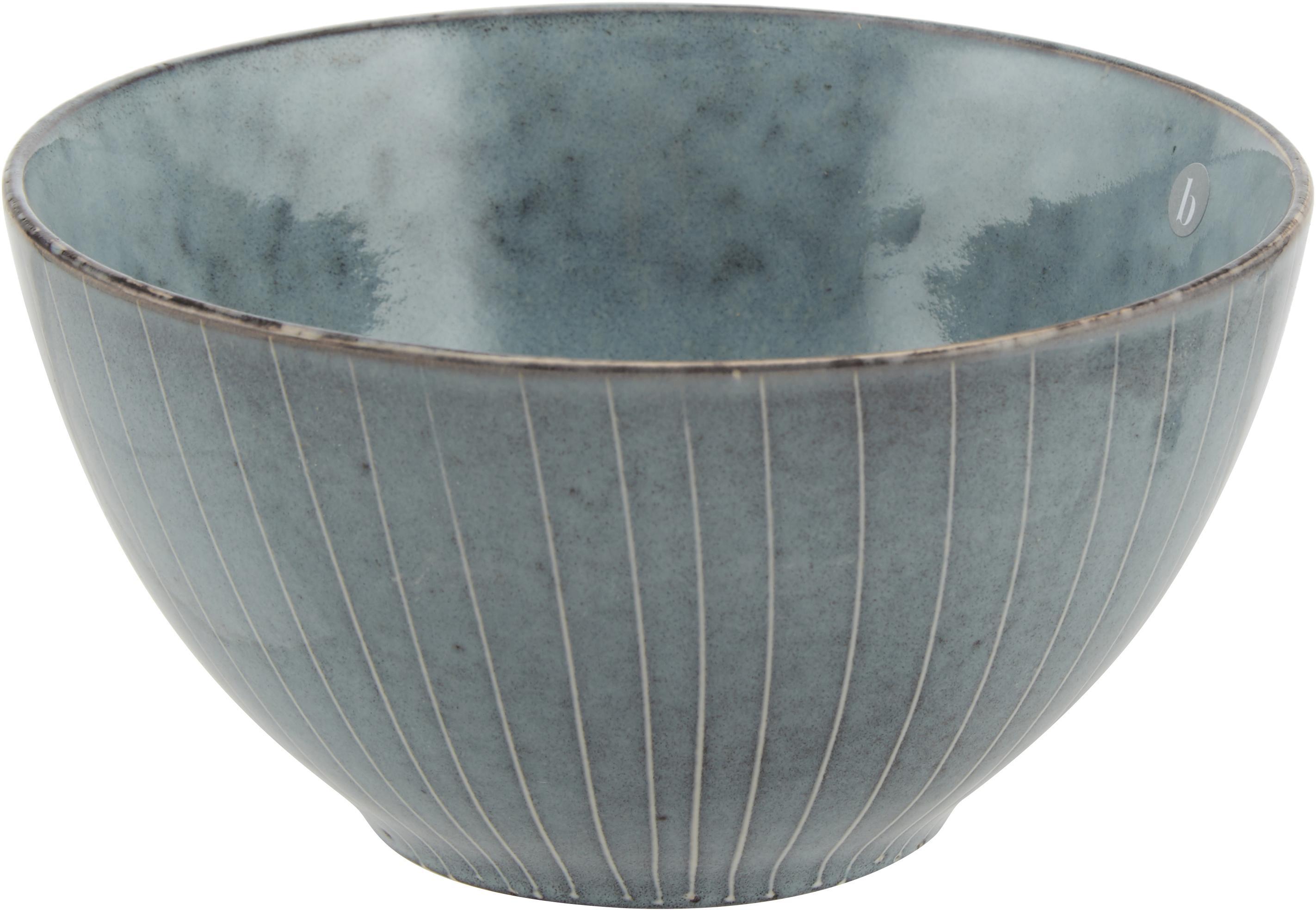 Ręcznie wykonana miska z kamionki Nordic Sea, 4 szt., Kamionka, Szary i niebieski, Ø 17 x W 8 cm