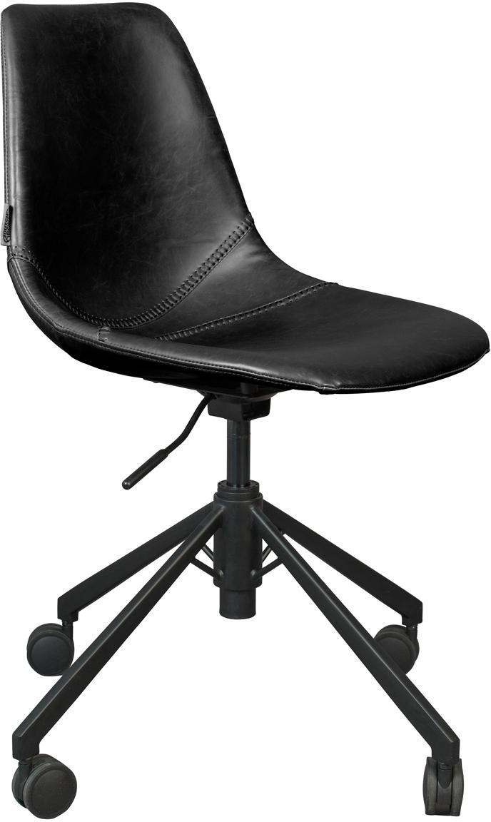 Biurowe krzesło obrotowe ze sztucznej skóry Franky, Tapicerka: sztuczna skóra (poliureta, Nogi: metal malowany proszkowo, Czarny, S 68 x G 68 cm