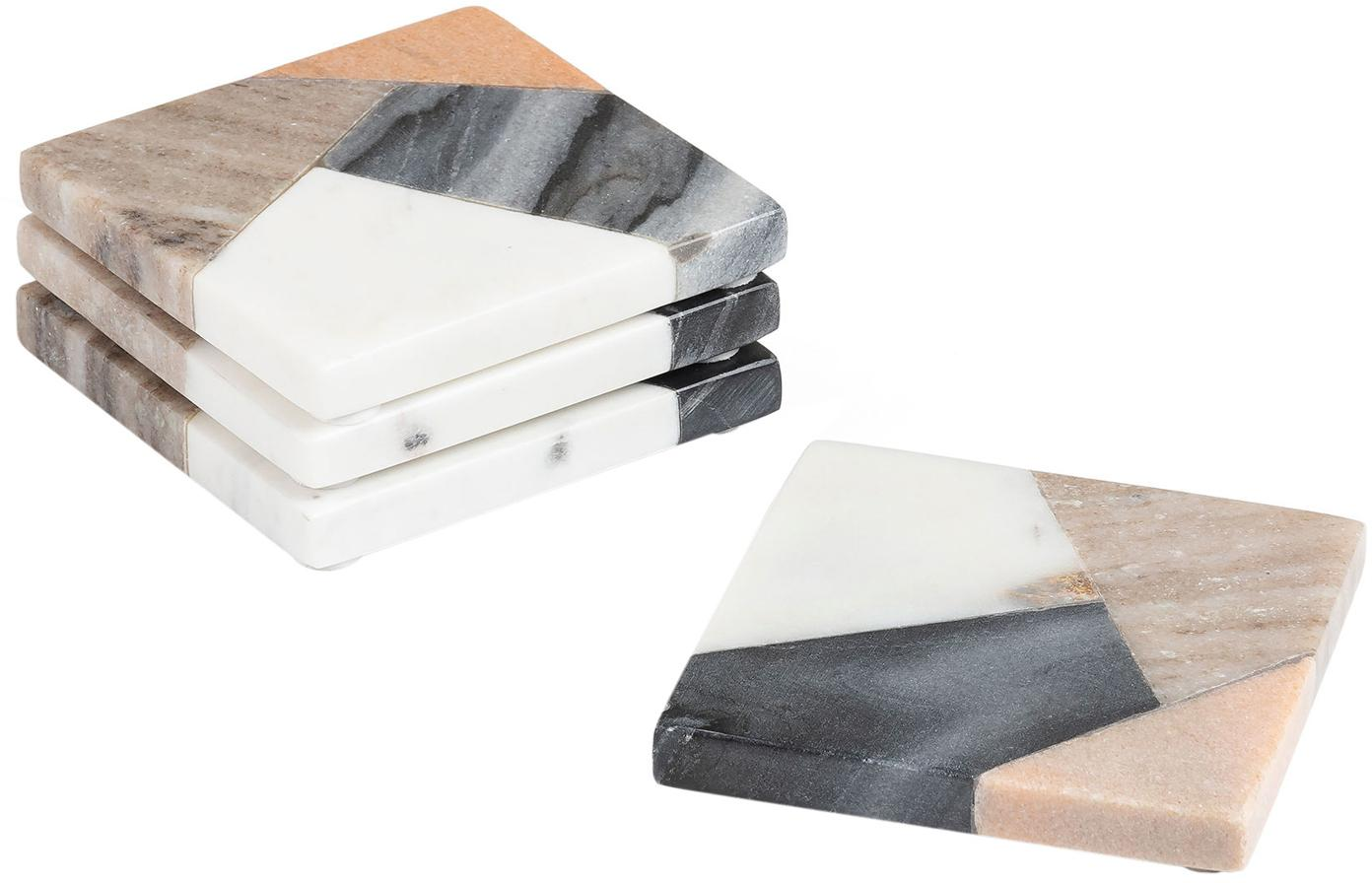 Set sottobicchieri in marmo Bradney, 4 pz., Ceramica, marmo, Multicolore, Larg. 10 x Prof. 10 cm