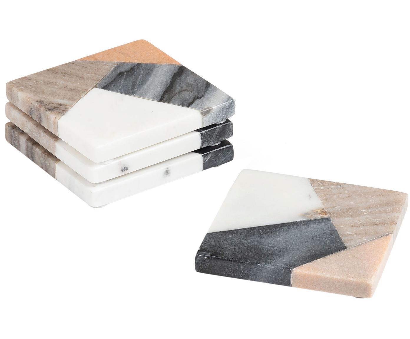 Marmor-Untersetzer-Set Bradney, 4-tlg., Keramik, Marmor, Mehrfarbig, B 10 x T 10 cm