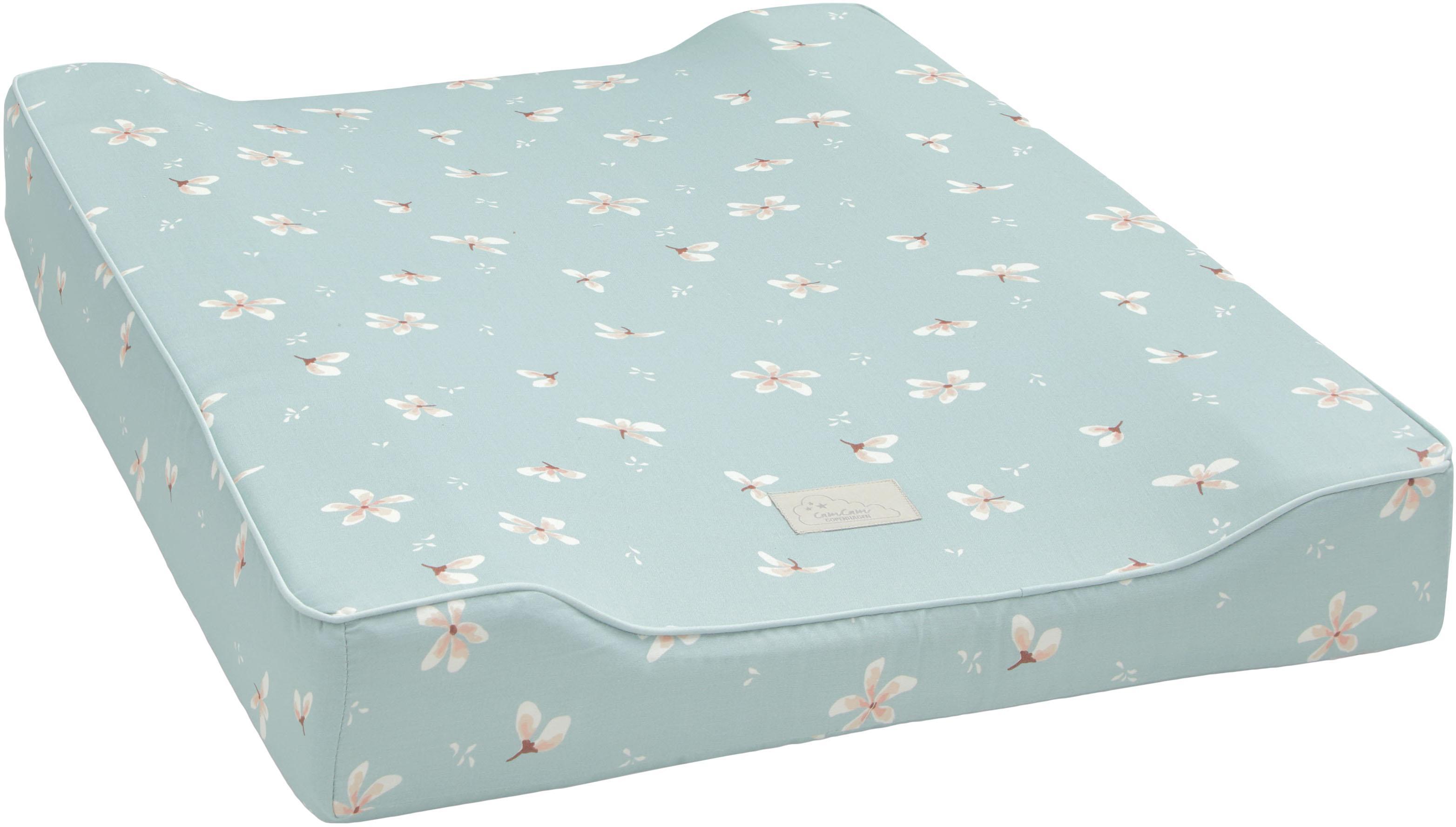 Colchón cambiador de algodón ecológico Wildflower, Funda: 100%algodón ecológico, c, Azul claro, crema, rosa, An 50 x L 65 cm