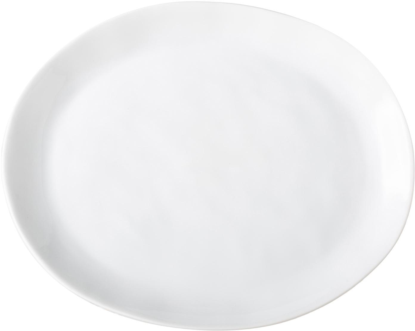 Piattino da dessert Porcelino 4 pz, Porcellana, volutamente irregolare, Bianco, Lung. 23 x Larg. 19 cm
