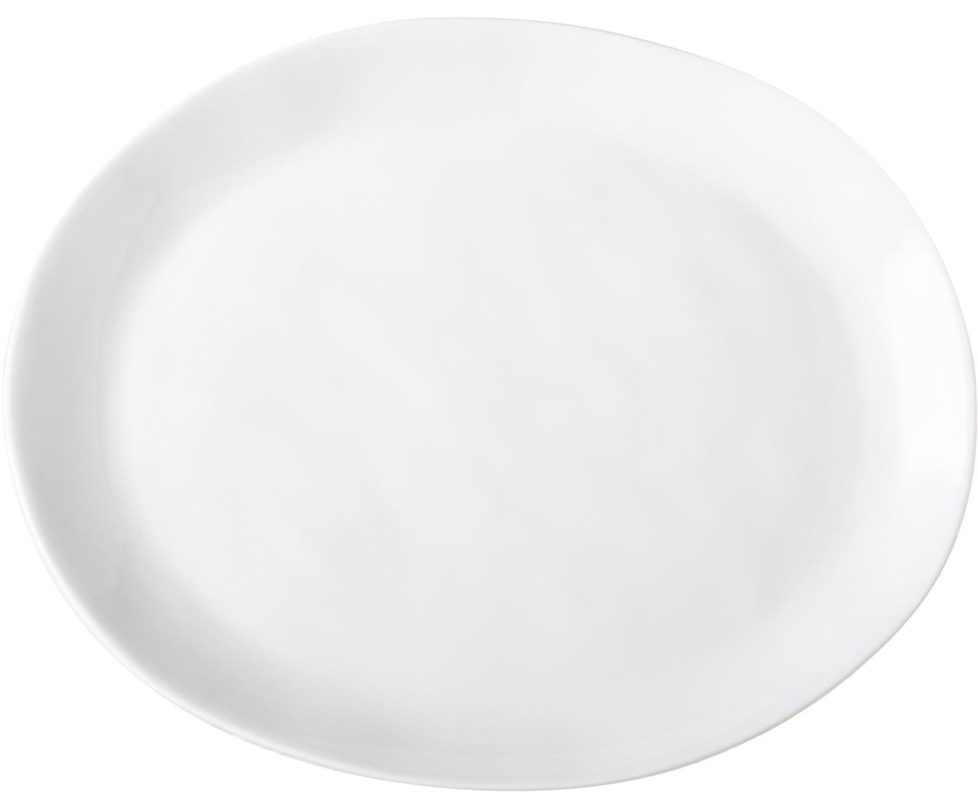 Ontbijtborden Porcelino, 4 stuks, Porselein in obewust ongelijkmatige vorm, Wit, 19 x 23 cm