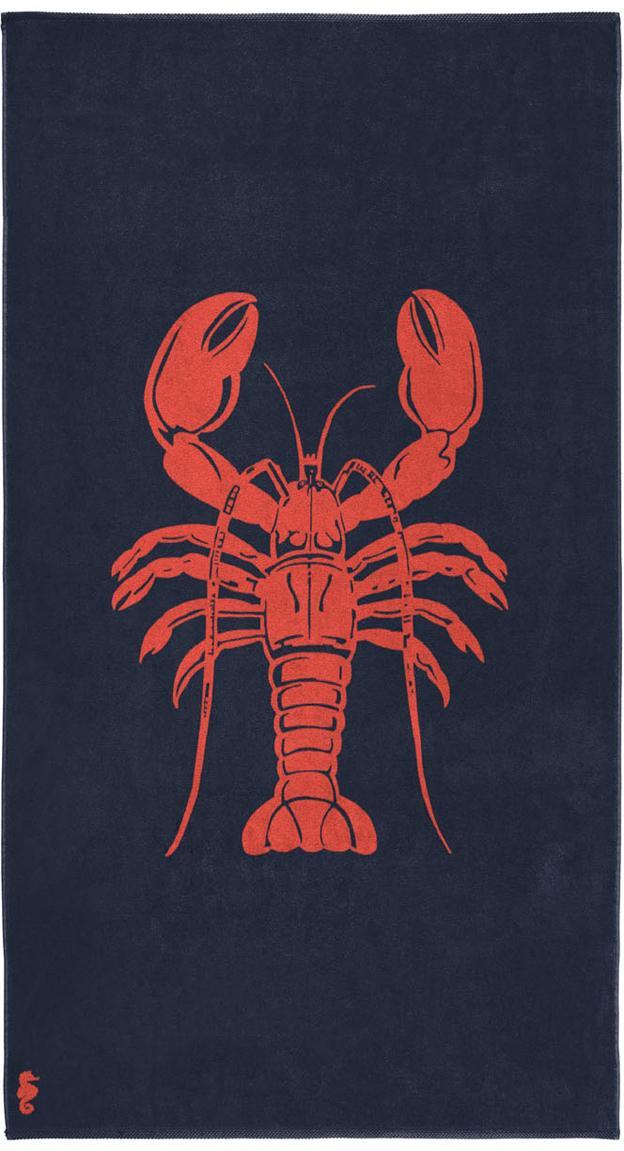 Strandtuch Lobster, 100% Velours (Baumwolle) mittelschwere Stoffqualität, 420g/m², Dunkelblau, Orangerot, 100 x 180 cm