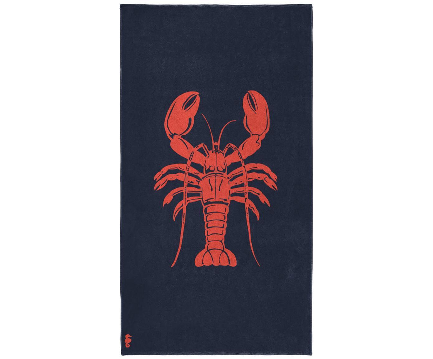 Telo mare Lobster, Velour (cotone) Qualità del tessuto di peso medio, 420g/m², Blu scuro, rosso arancione, P 100 x L 180 cm