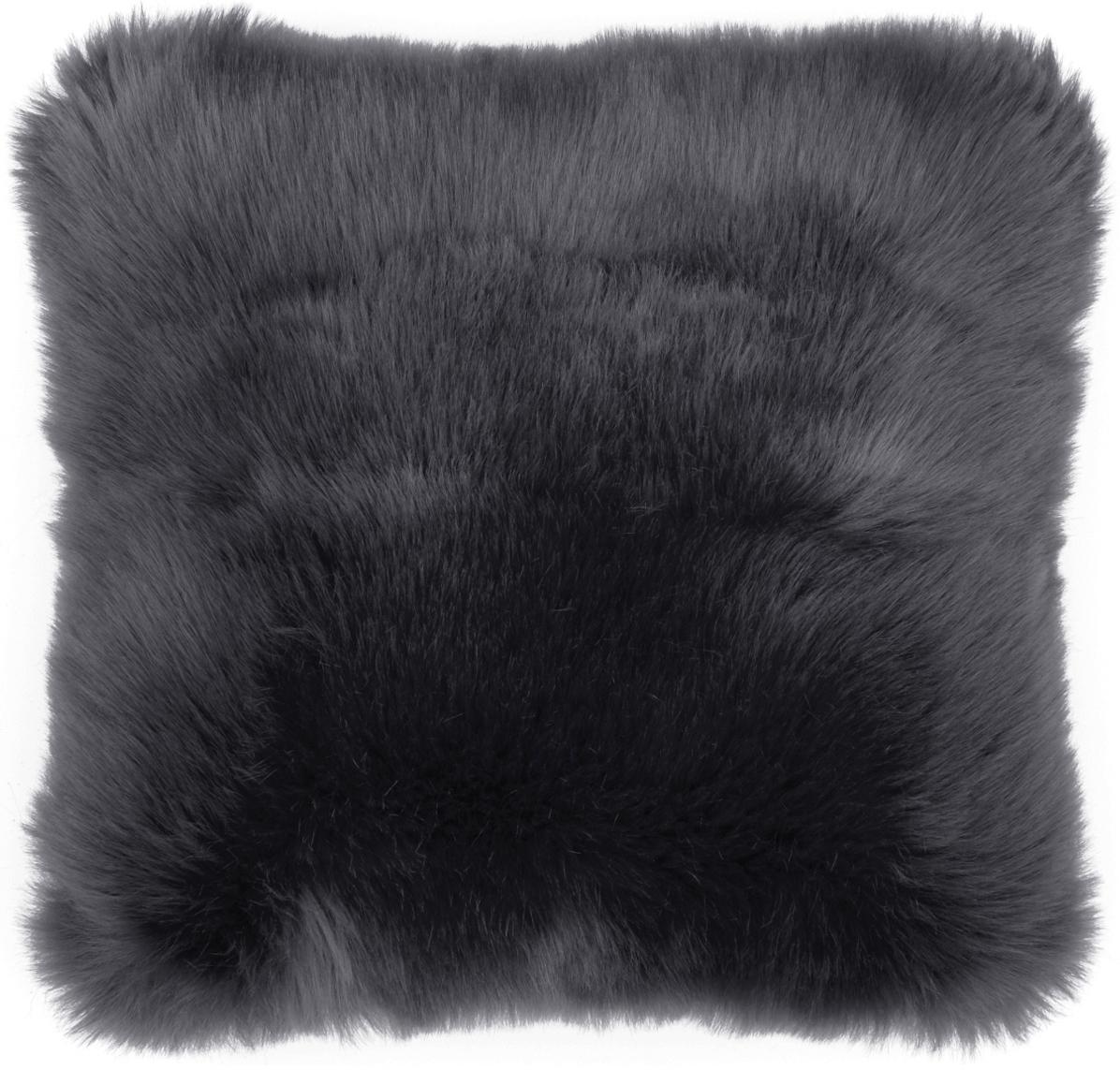 Flauschige Kunstfell-Kissenhülle Mathilde, glatt, Vorderseite: 67% Acryl, 33% Polyester, Rückseite: 100% Polyester, Dunkelgrau, 40 x 40 cm