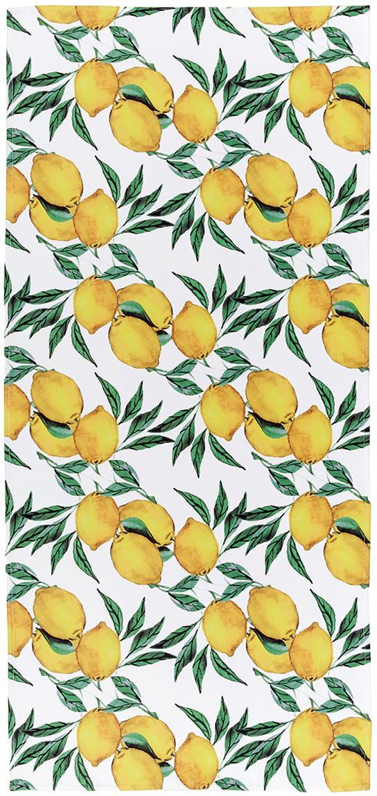 Telo mare leggero con stampa limoni Lemon, 55% poliestere, 45% cotone, qualità molto leggera 340 g/m², Bianco, verde, giallo, Larg. 70 x Lung. 150 cm