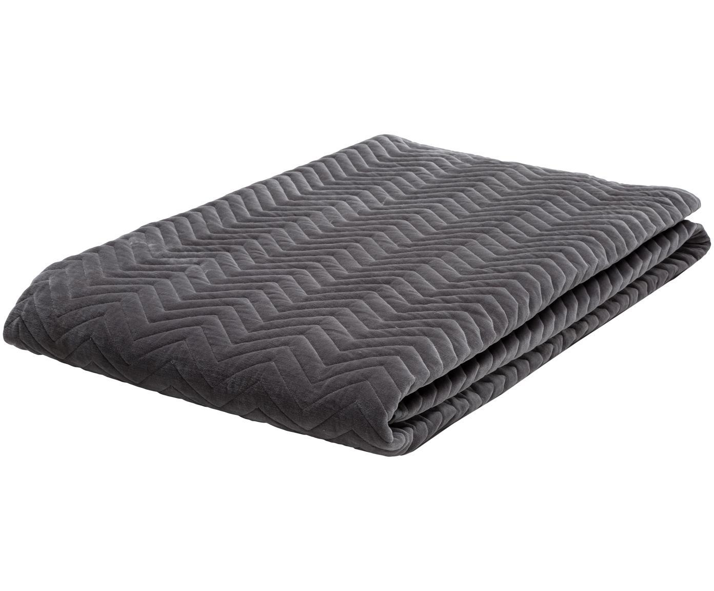 Samt-Tagesdecke Chevron, 100% Baumwollsamt, Grau, 240 x 260 cm