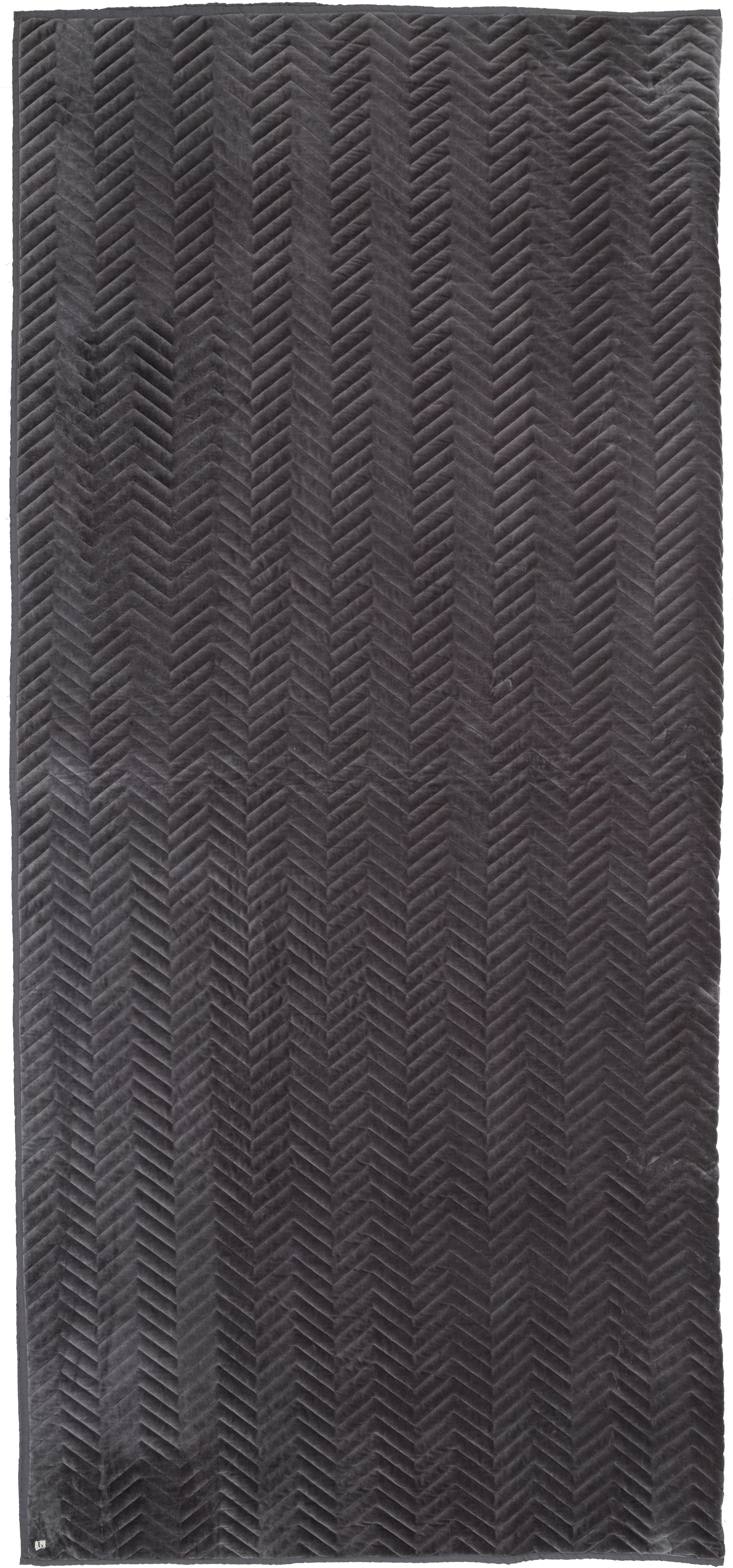 Narzuta z aksamitu Chevron, Aksamit bawełniany, Szary, S 240 x D 260 cm
