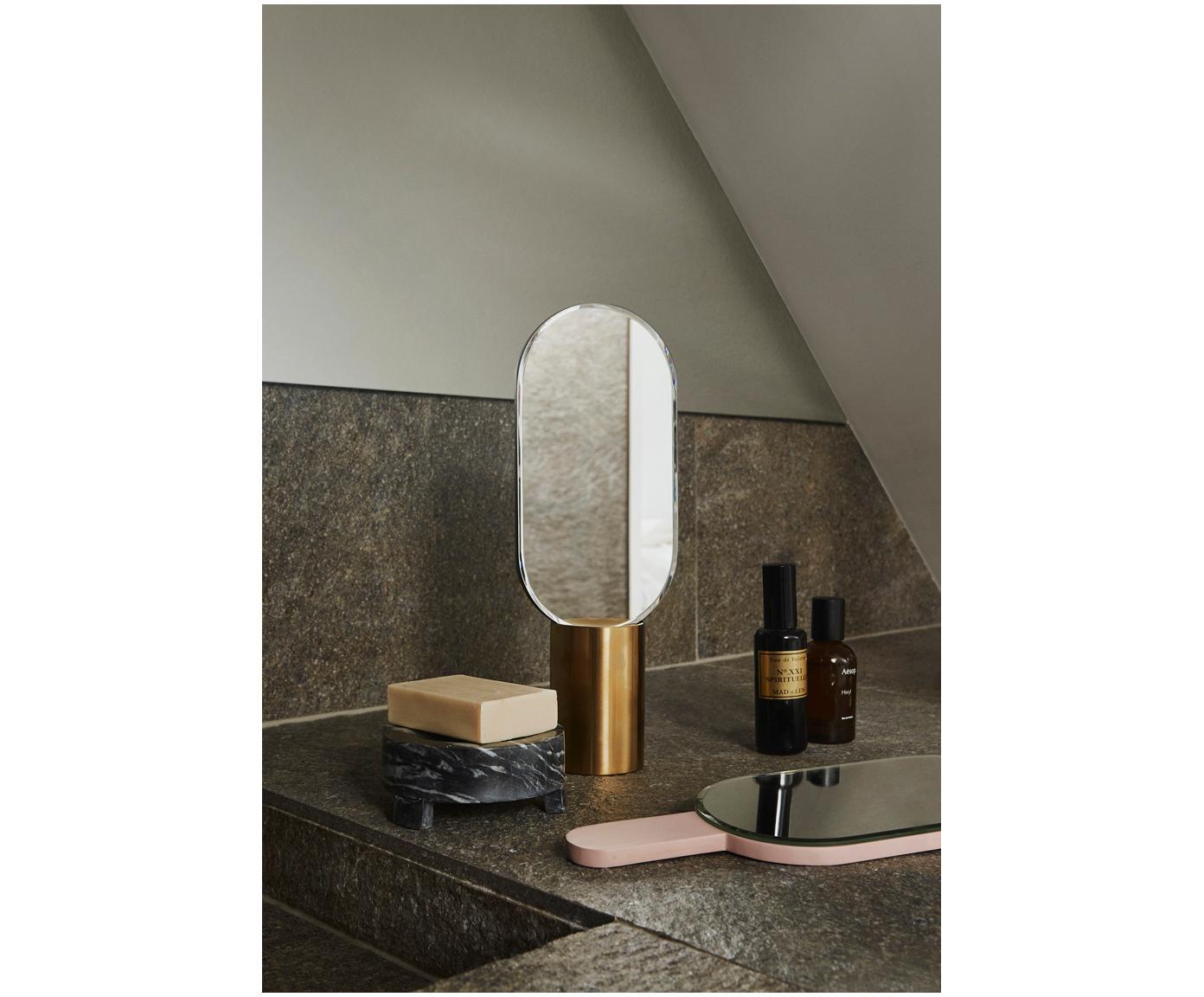 Make-up spiegel Renga, Voetstuk: vermessingd metaal, Antraciet, messingkleurig, 11 x 31 cm