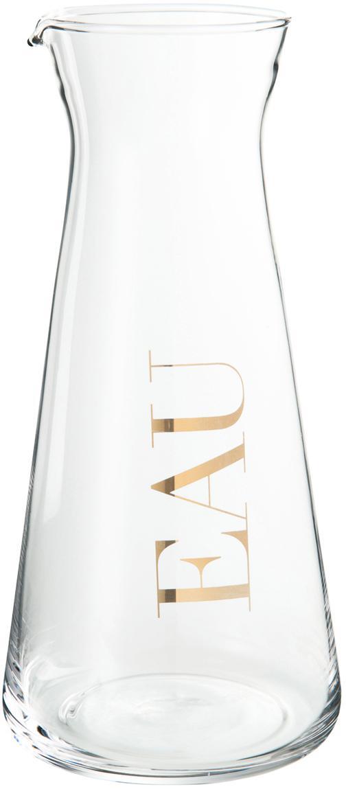 Karaffe Eau, Glas, Transparent, Goldfarben, 1 L
