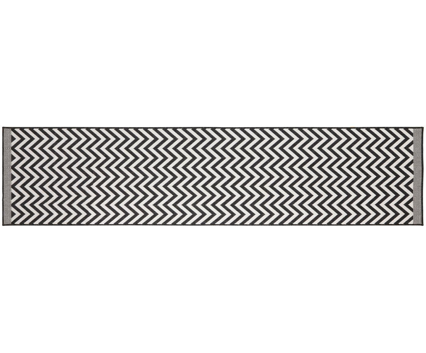 Alfombra reversible de interior/exterior Palma, Negro, crema, An 80 x L 350 cm