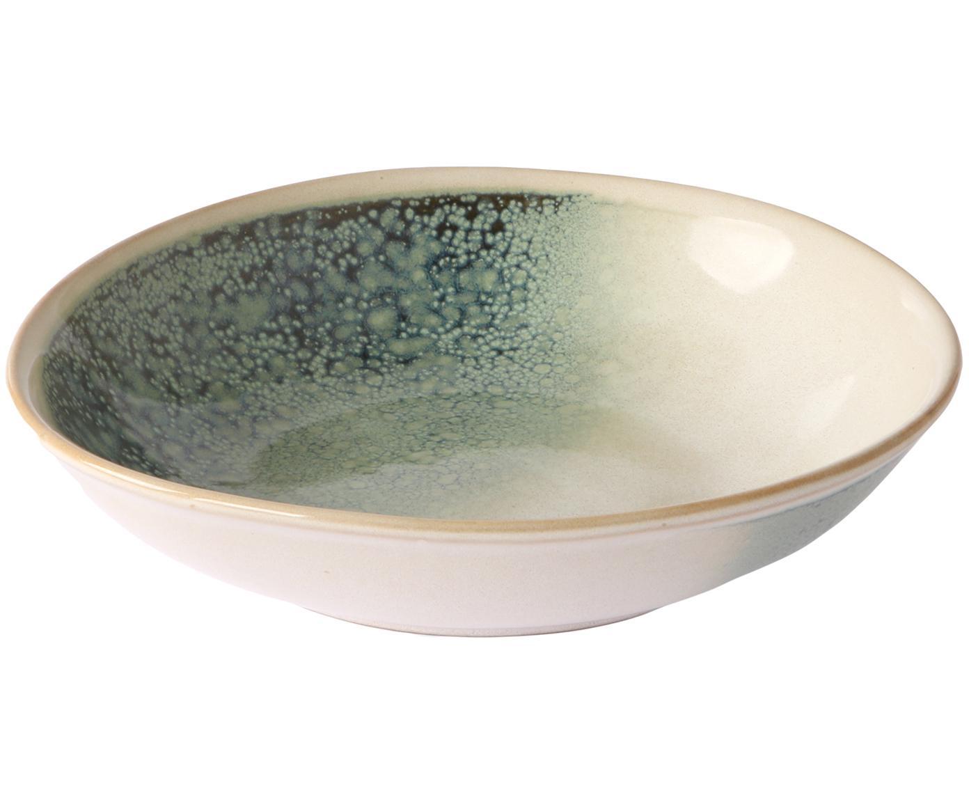 Handgemachtes Suppenteller-Set 70's, 2-tlg., Keramik, Grüntöne, Beige, 21 x 5 cm