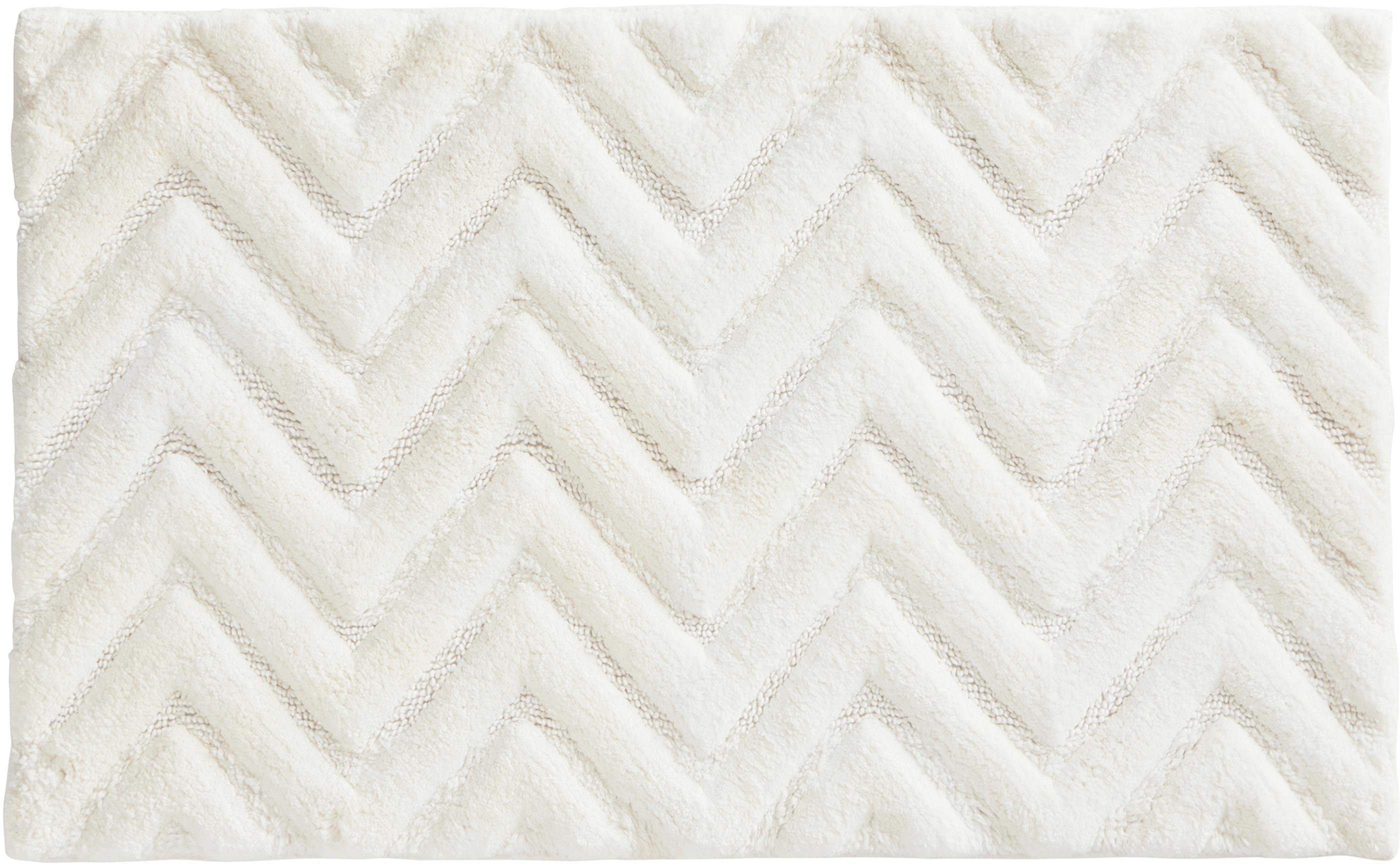 Tappeto bagno morbido bianco Arild, Cotone, Bianco latteo, Larg. 50 x Lung. 80 cm
