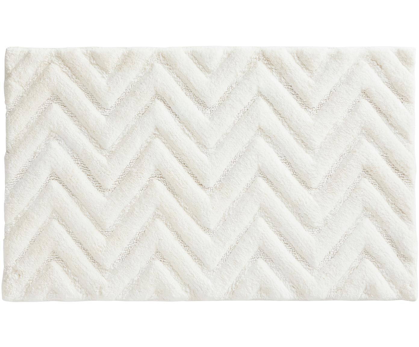 Flauschiger Badvorleger Arild in Weiß, 100% Baumwolle, Gebrochenes Weiß, 50 x 80 cm