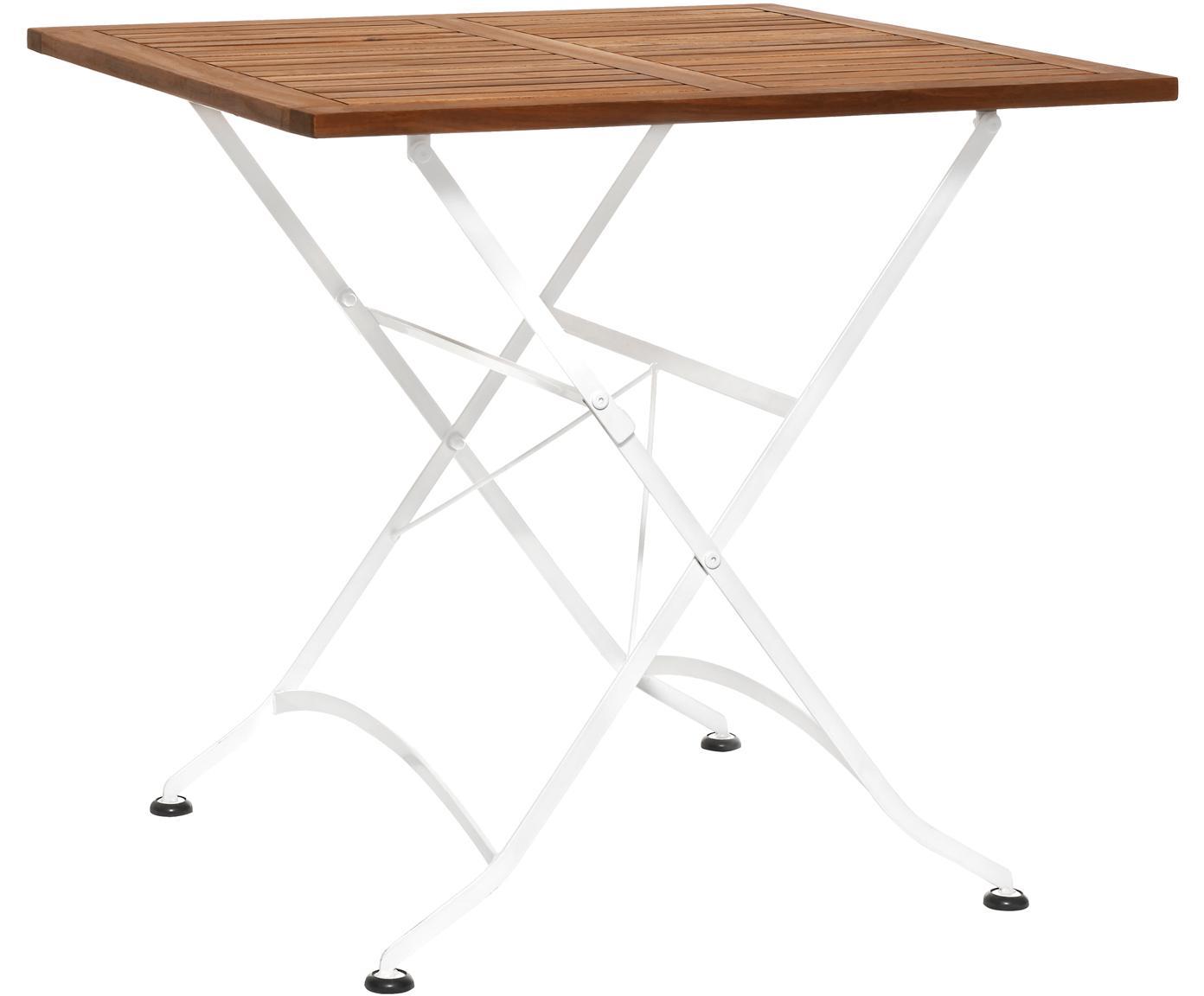 Klappbarer Gartentisch Parklife mit Holzplatte, Tischplatte: Akazienholz, geölt,, Gestell: Metall, verzinkt, pulverb, Weiß, Akazienholz, 80 x 75 cm