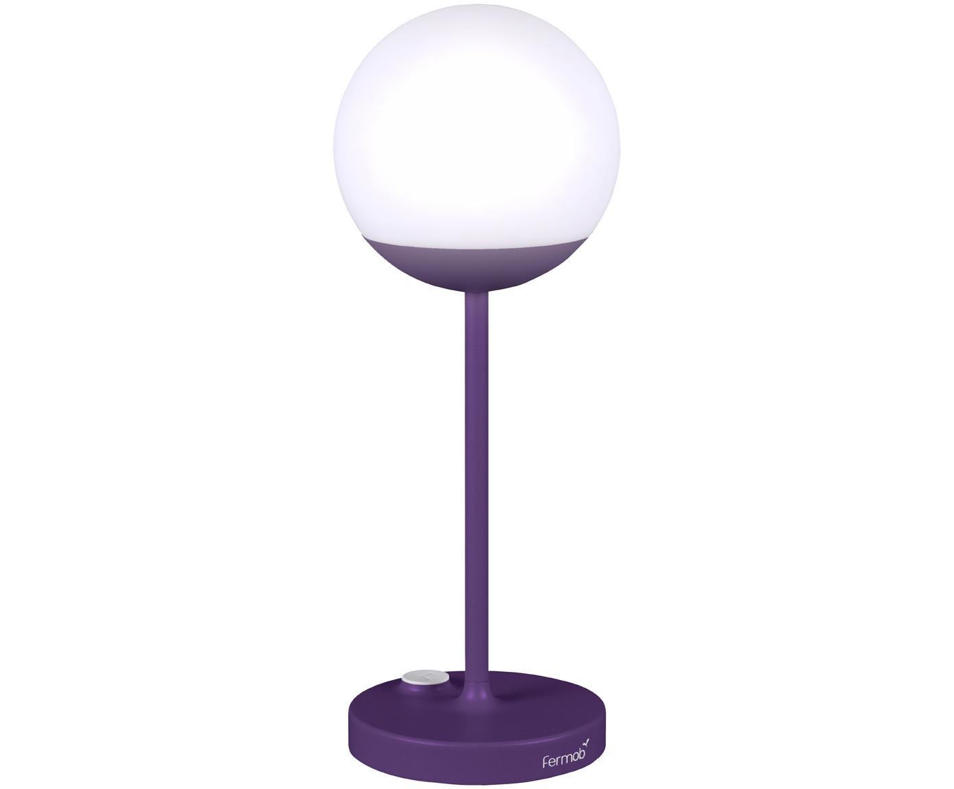 Mobile LED Aussenleuchte Mooon, Lampenschirm: Kunststoff, Lila, Ø 15 x H 41 cm