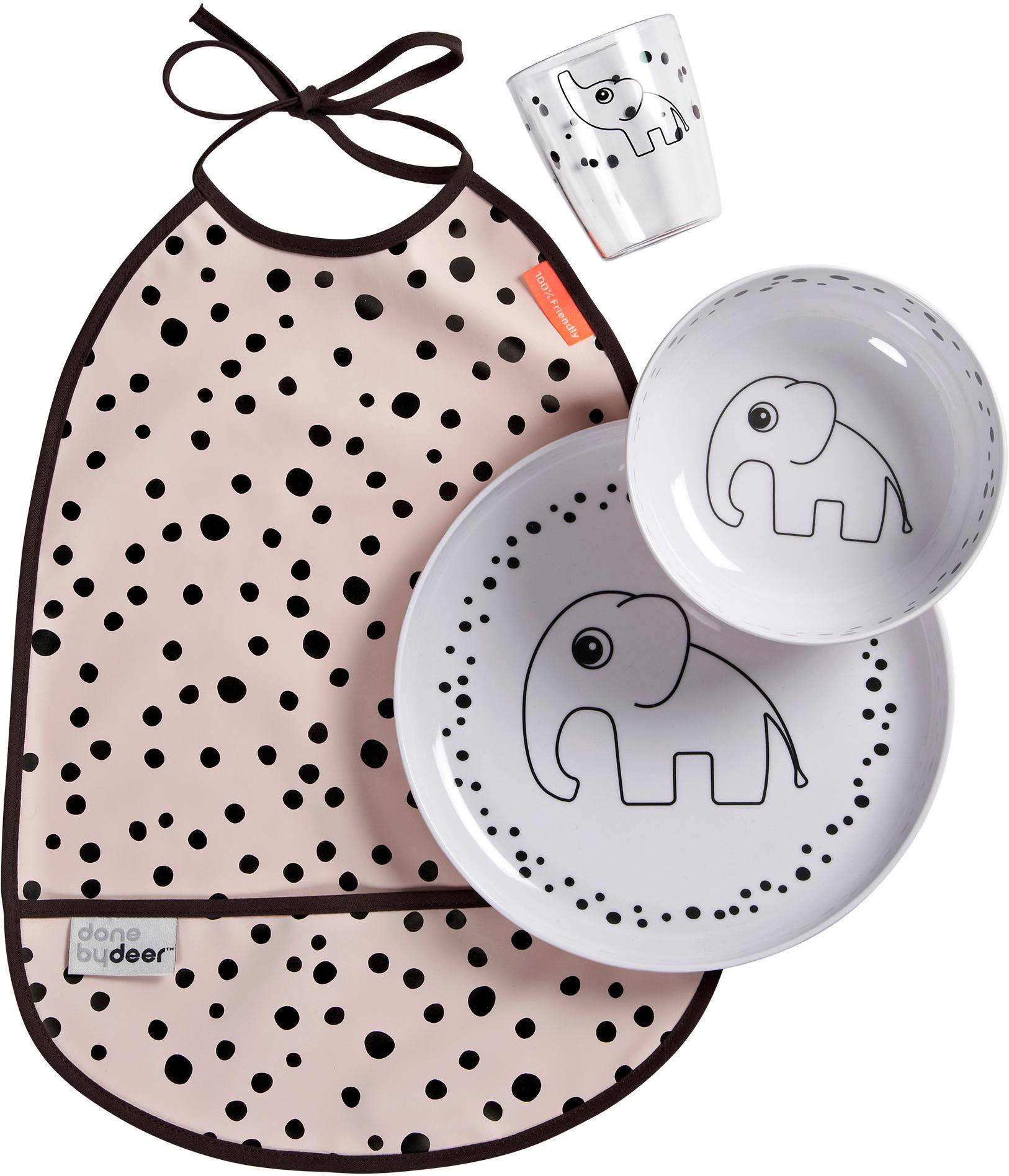 Set 4 piatti Happy Dots, Rosa, Set in varie misure