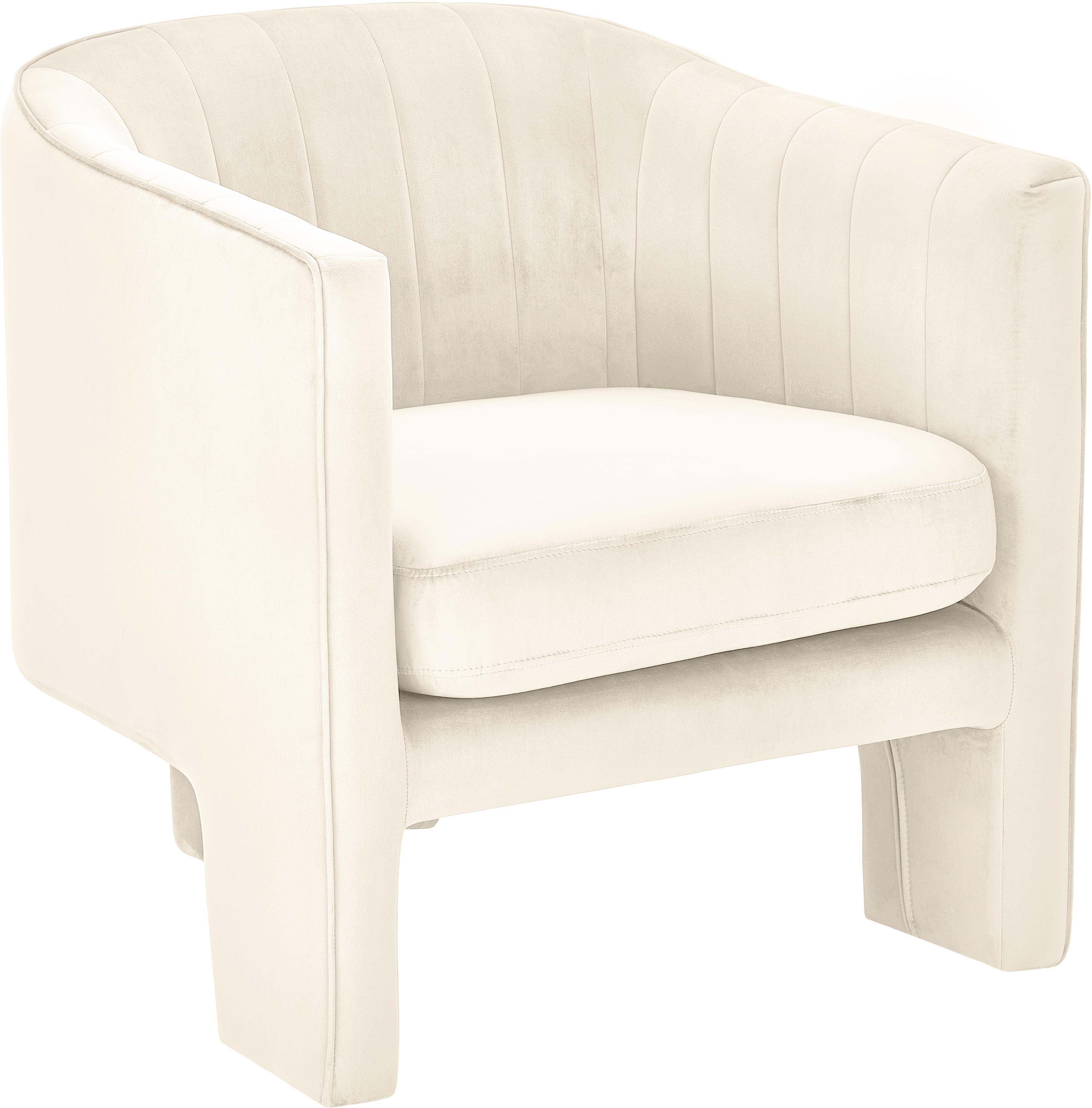 Fluwelen fauteuil Emilie, Bekleding: fluweel (polyester), Beige, B 75 x D 76 cm