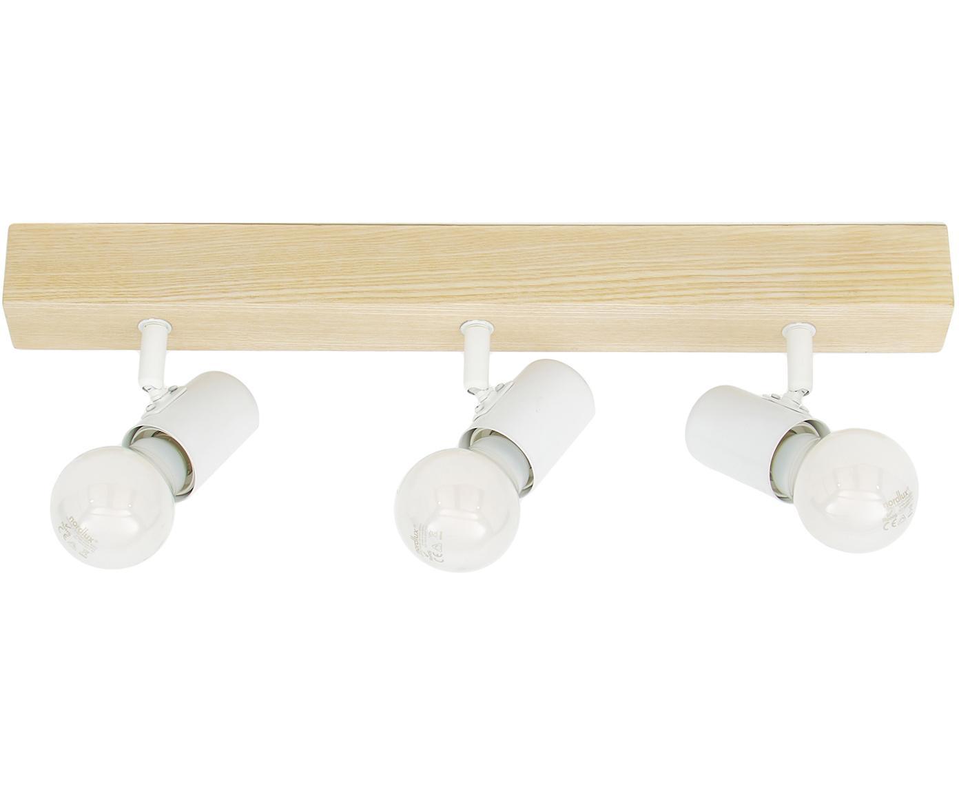 Lampa sufitowa Townshend, Biały, drewno naturalne, S 48 x W 13 cm